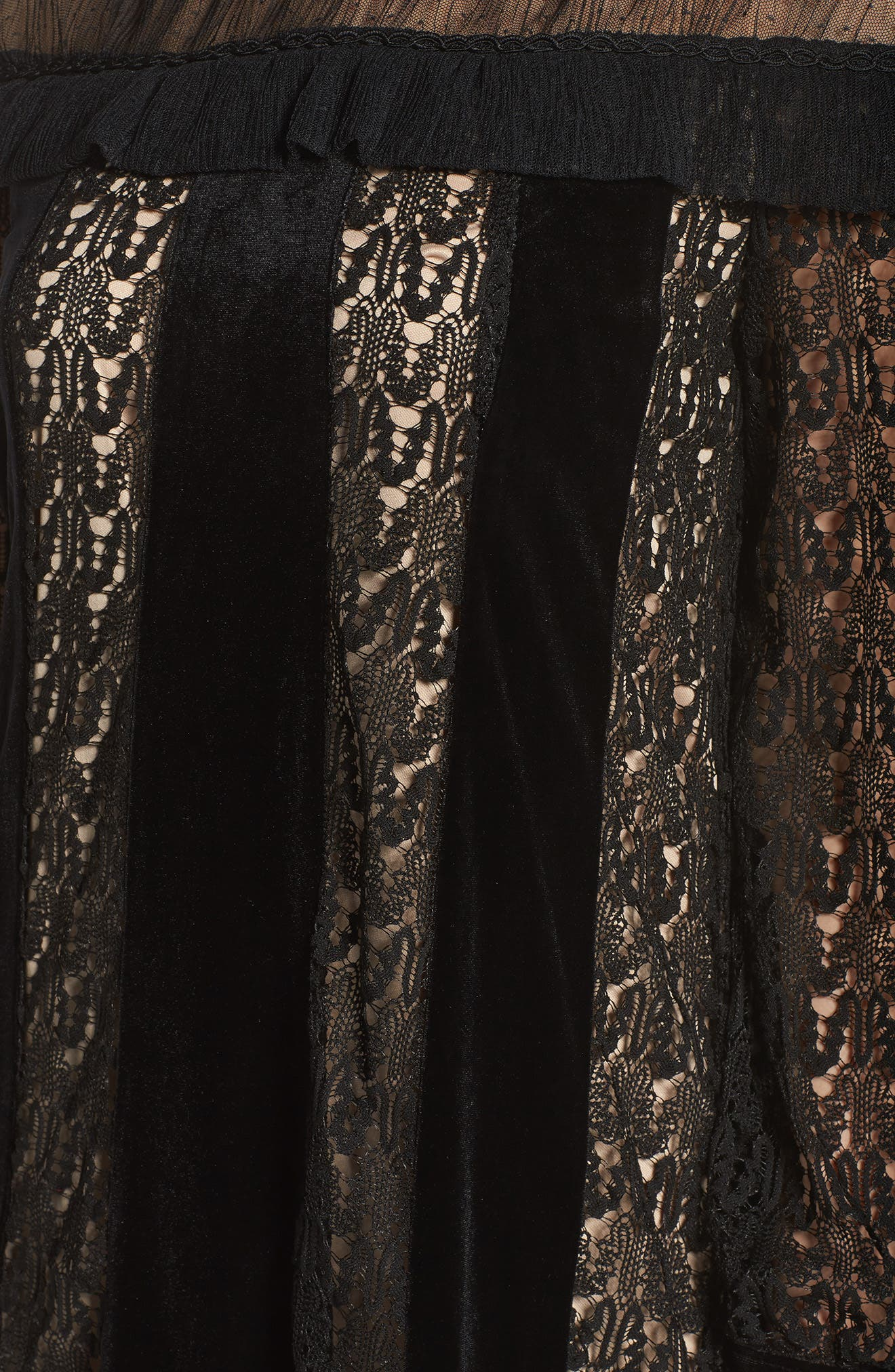 Charli Lace & Velvet Shift Dress,                             Alternate thumbnail 5, color,                             001
