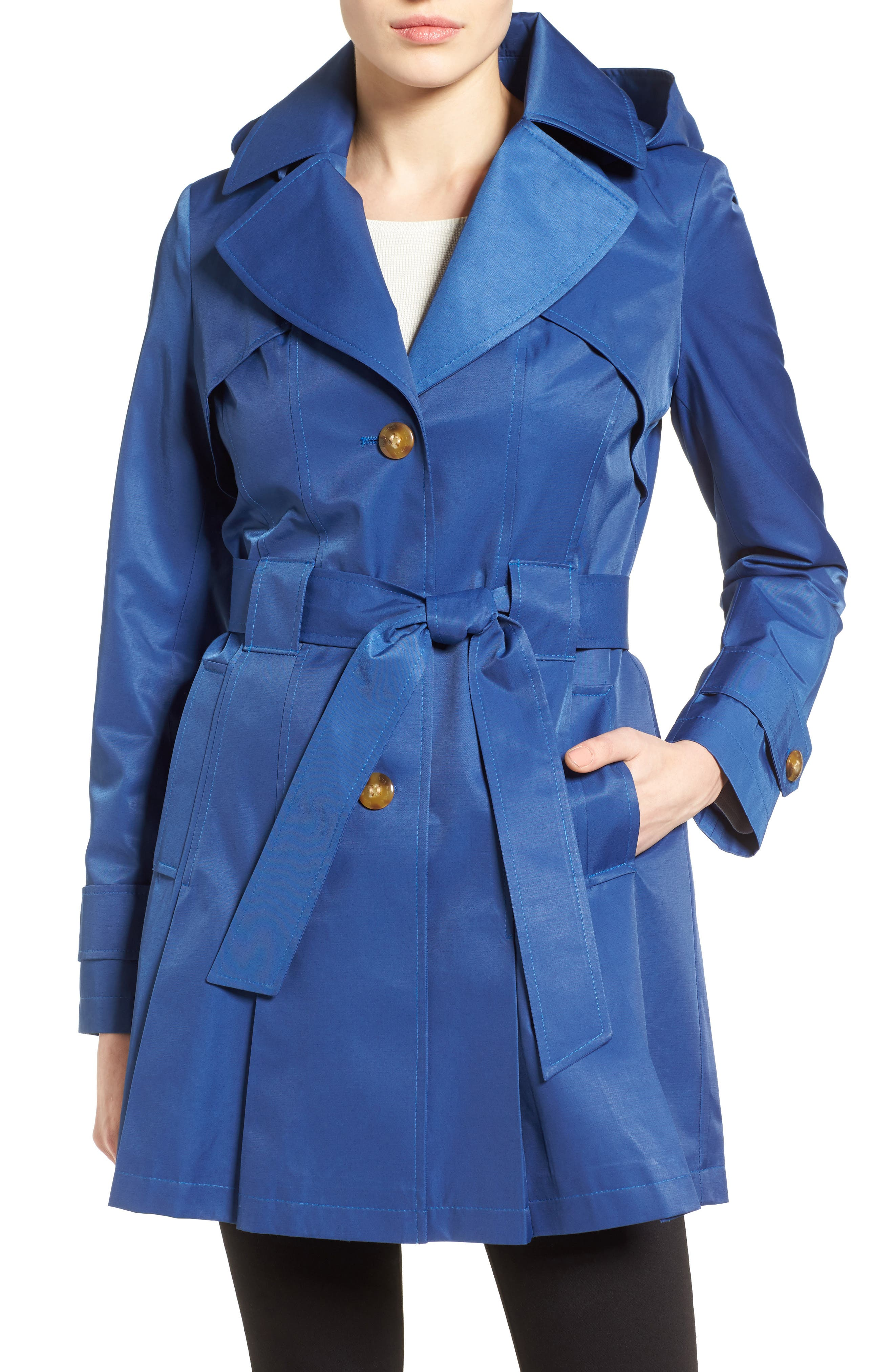 'Scarpa' Hooded Single Breasted Trench Coat,                             Main thumbnail 6, color,