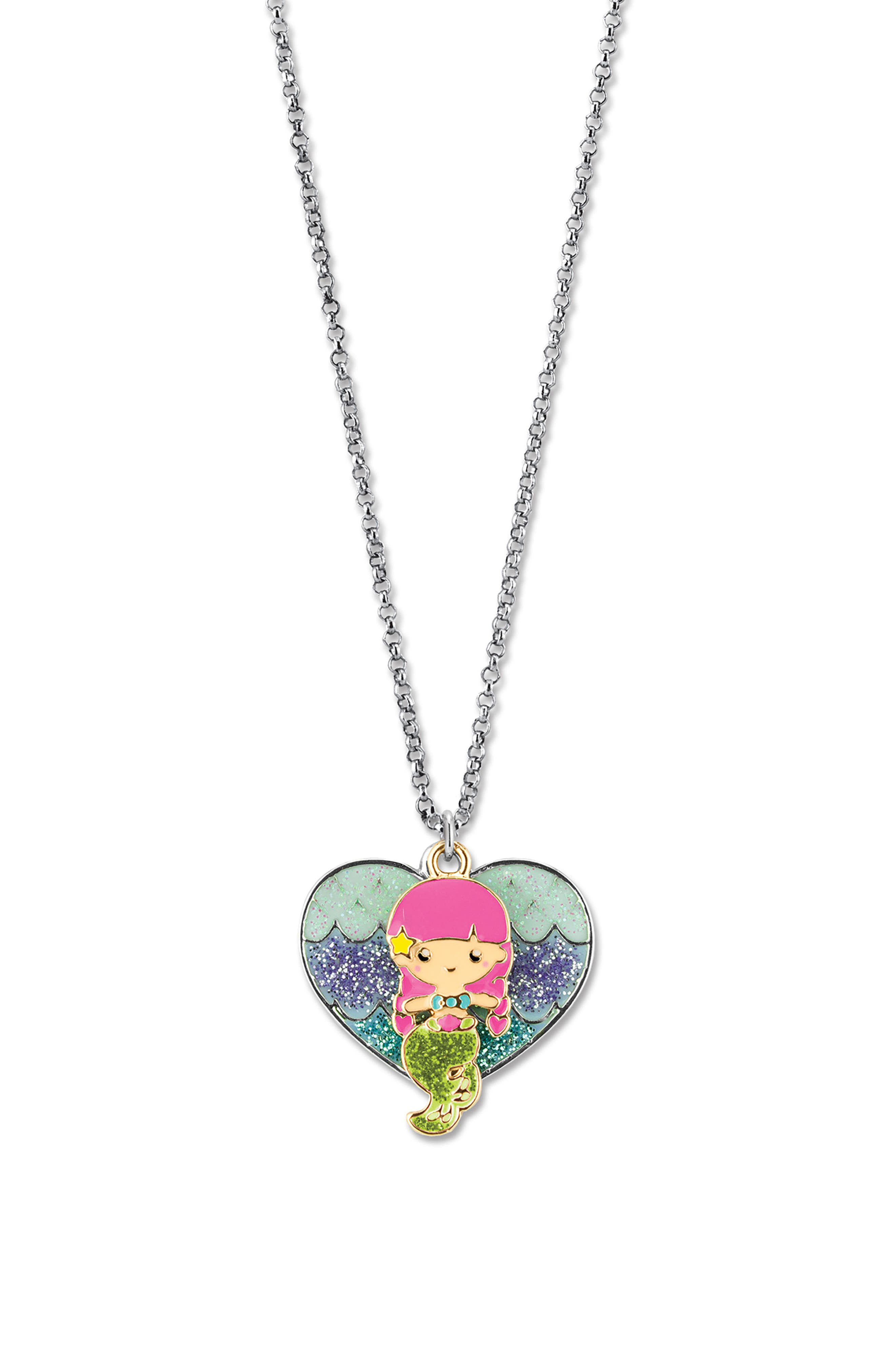 CHARM IT!<sup>®</sup> Glitter Mermaid Pendant Necklace,                             Alternate thumbnail 3, color,