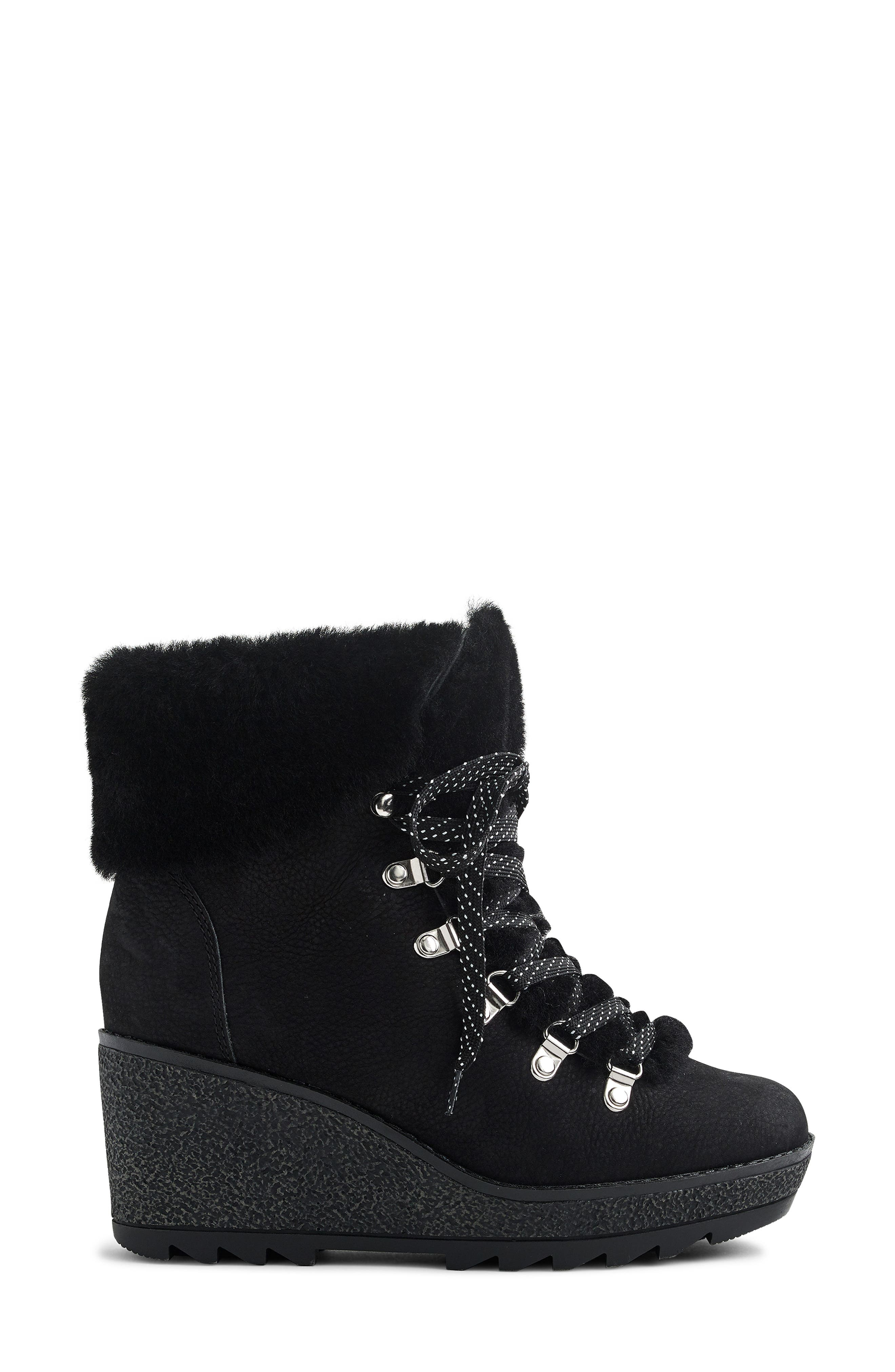 Nordic Wedge Bootie,                             Alternate thumbnail 2, color,                             BLACK LEATHER