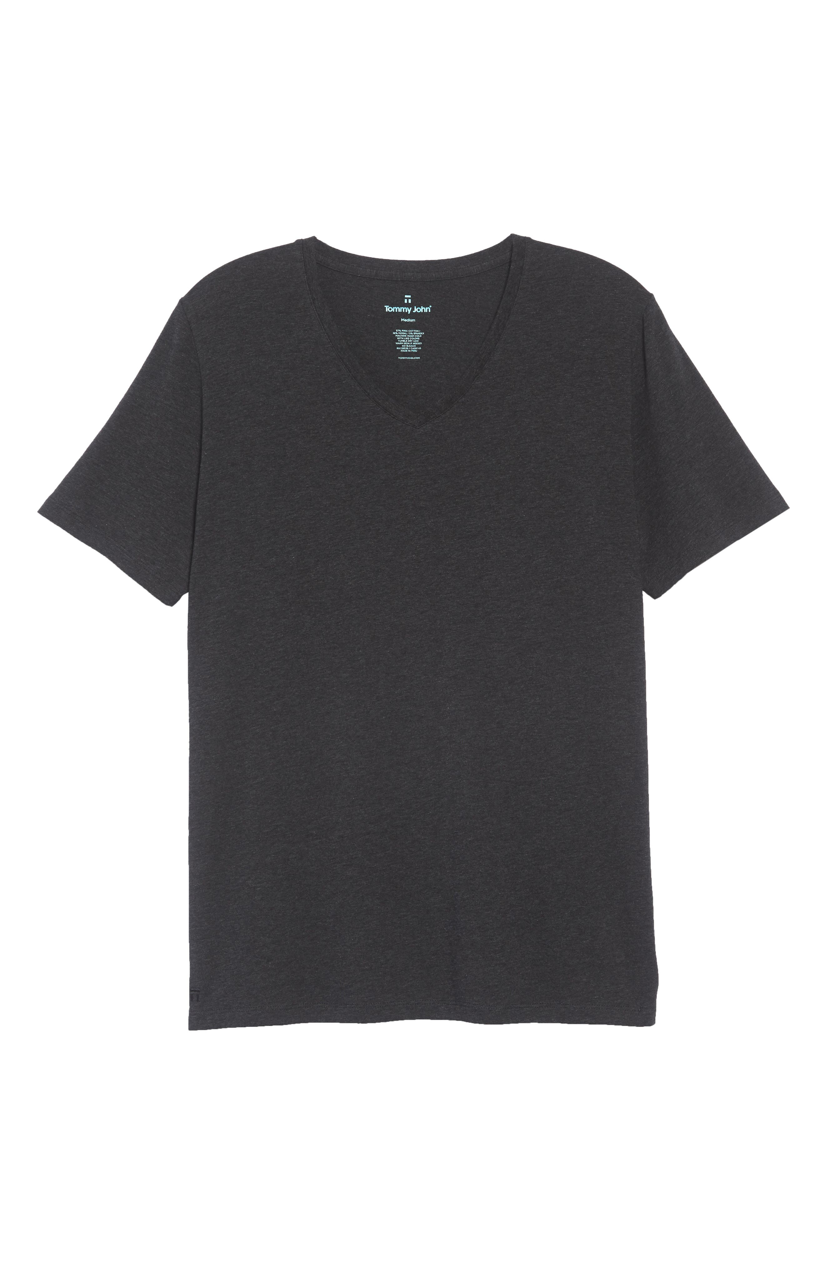 Cotton Blend V-Neck T-Shirt,                             Alternate thumbnail 6, color,                             HEATHER CHARCOAL