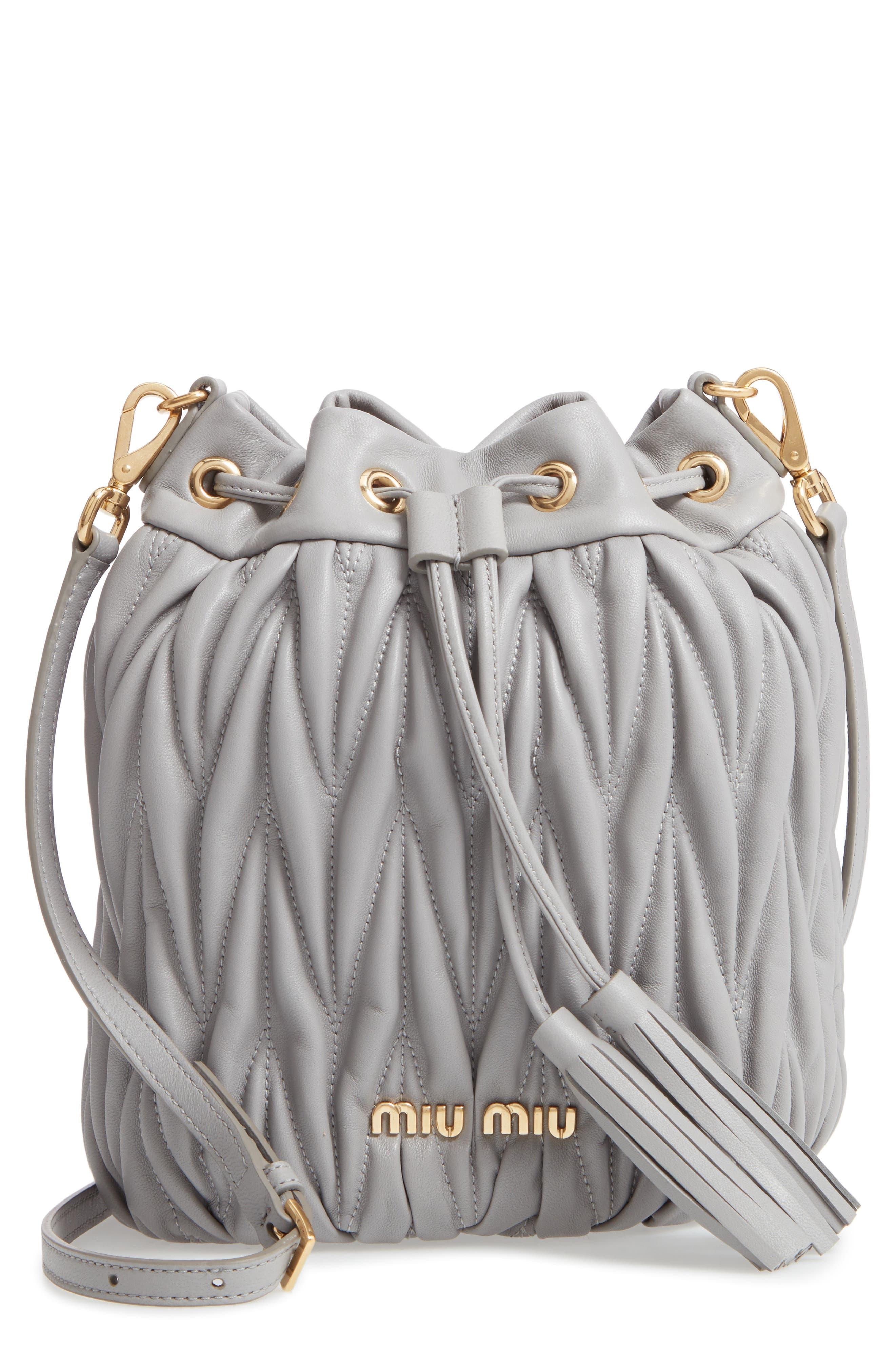 MIU MIU Matelasse Lambskin Leather Bucket Bag - Grey in Nube