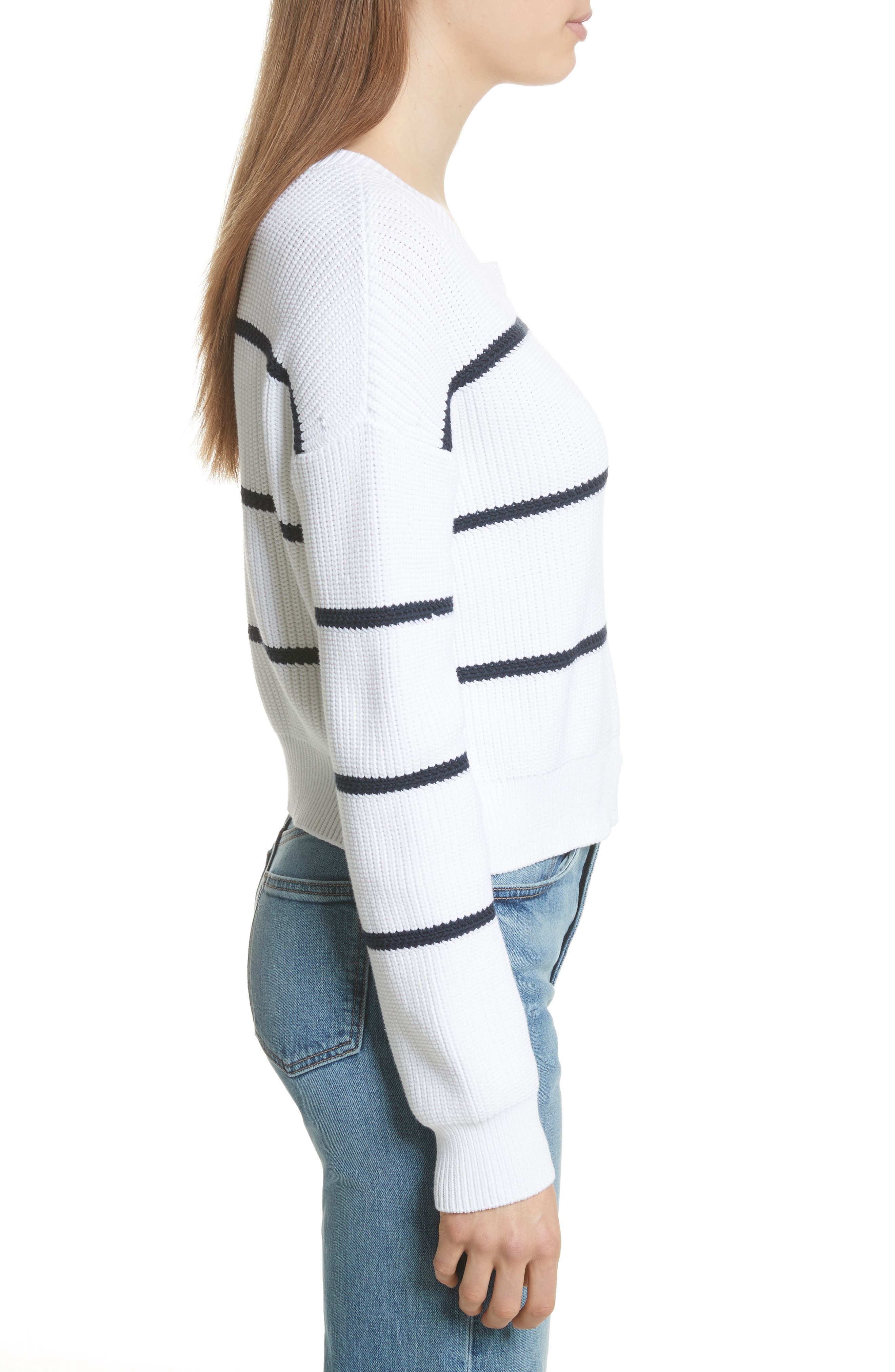 Cotton Blend Rib Knit Stripe Sweater,                             Alternate thumbnail 5, color,