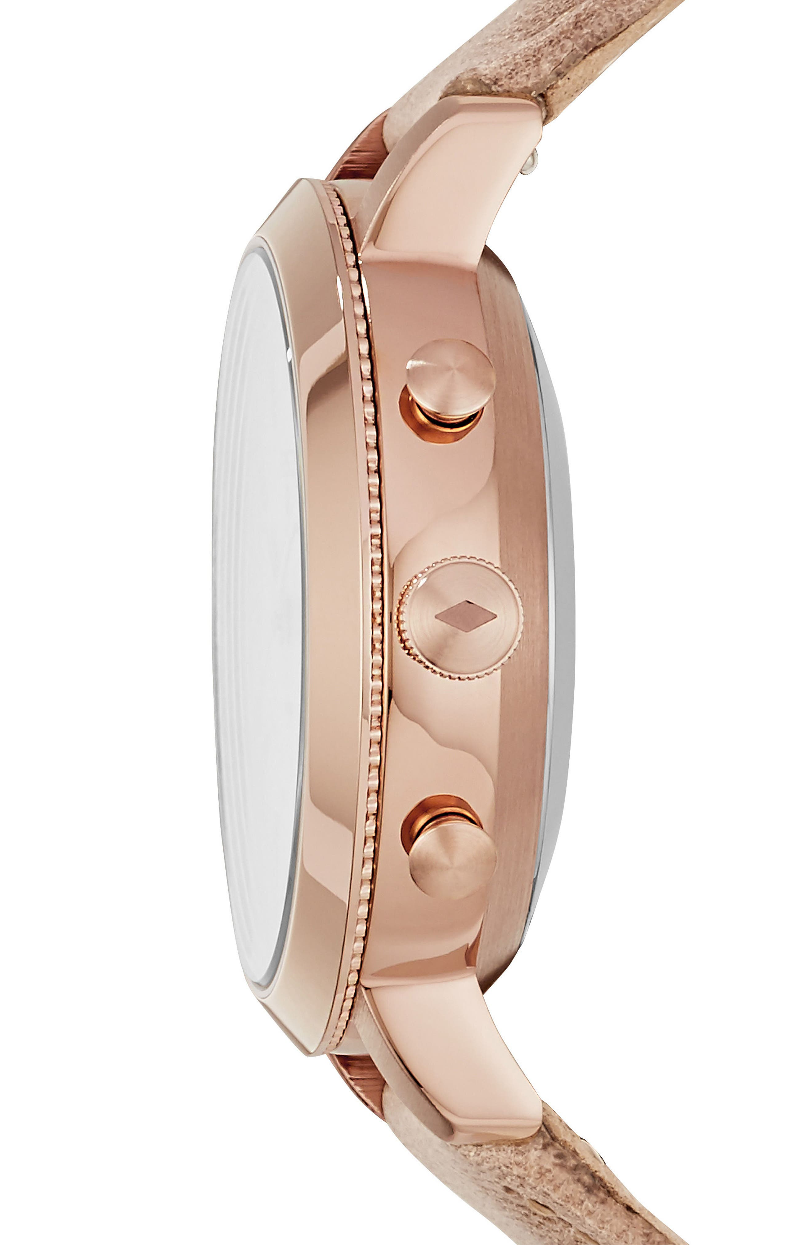 Neely Leather Strap Hybrid Smart Watch, 36mm,                             Alternate thumbnail 2, color,                             BEIGE/ WHITE/ ROSE GOLD