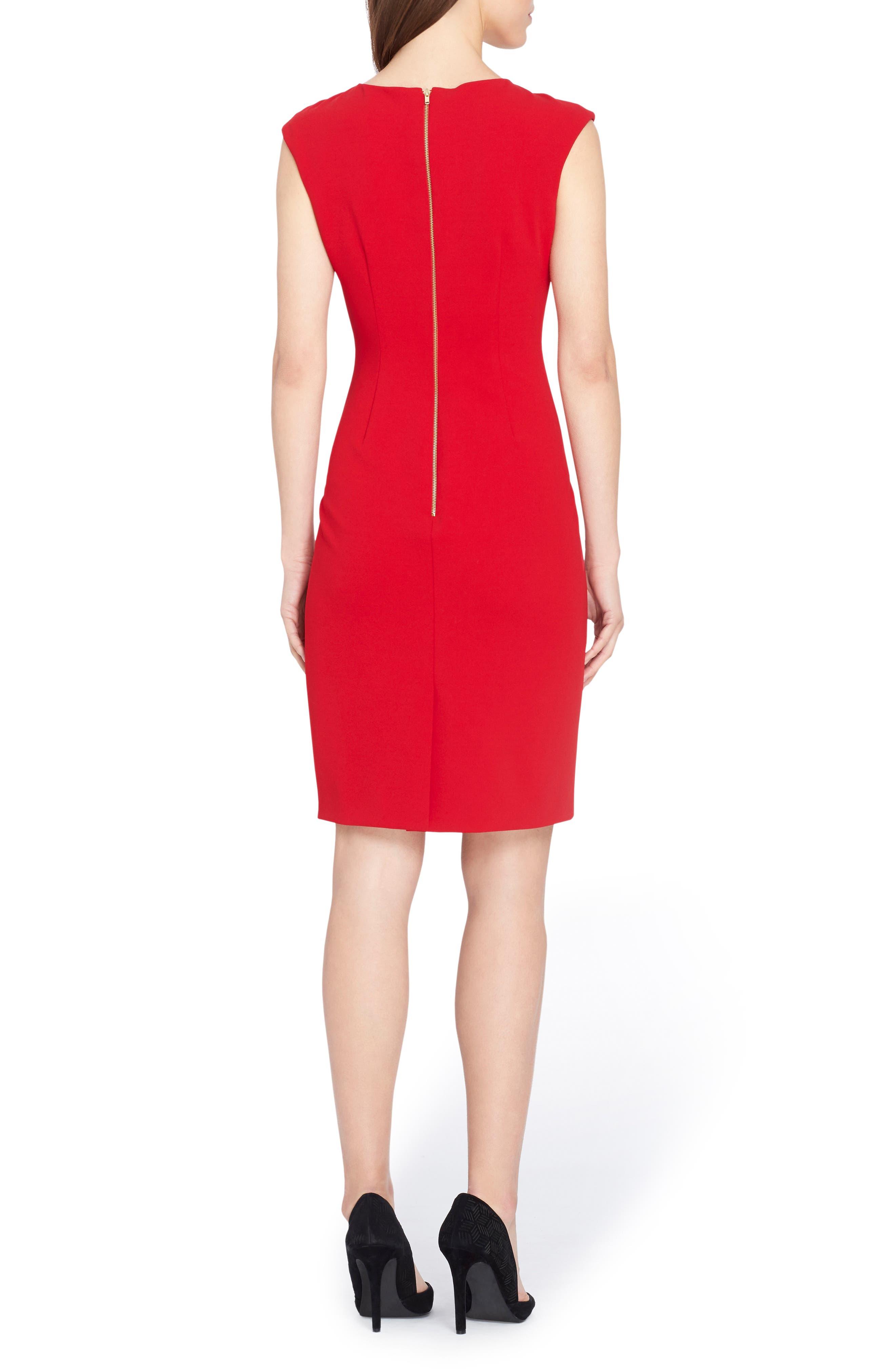 Knotted Scuba Sheath Dress,                             Alternate thumbnail 2, color,                             600