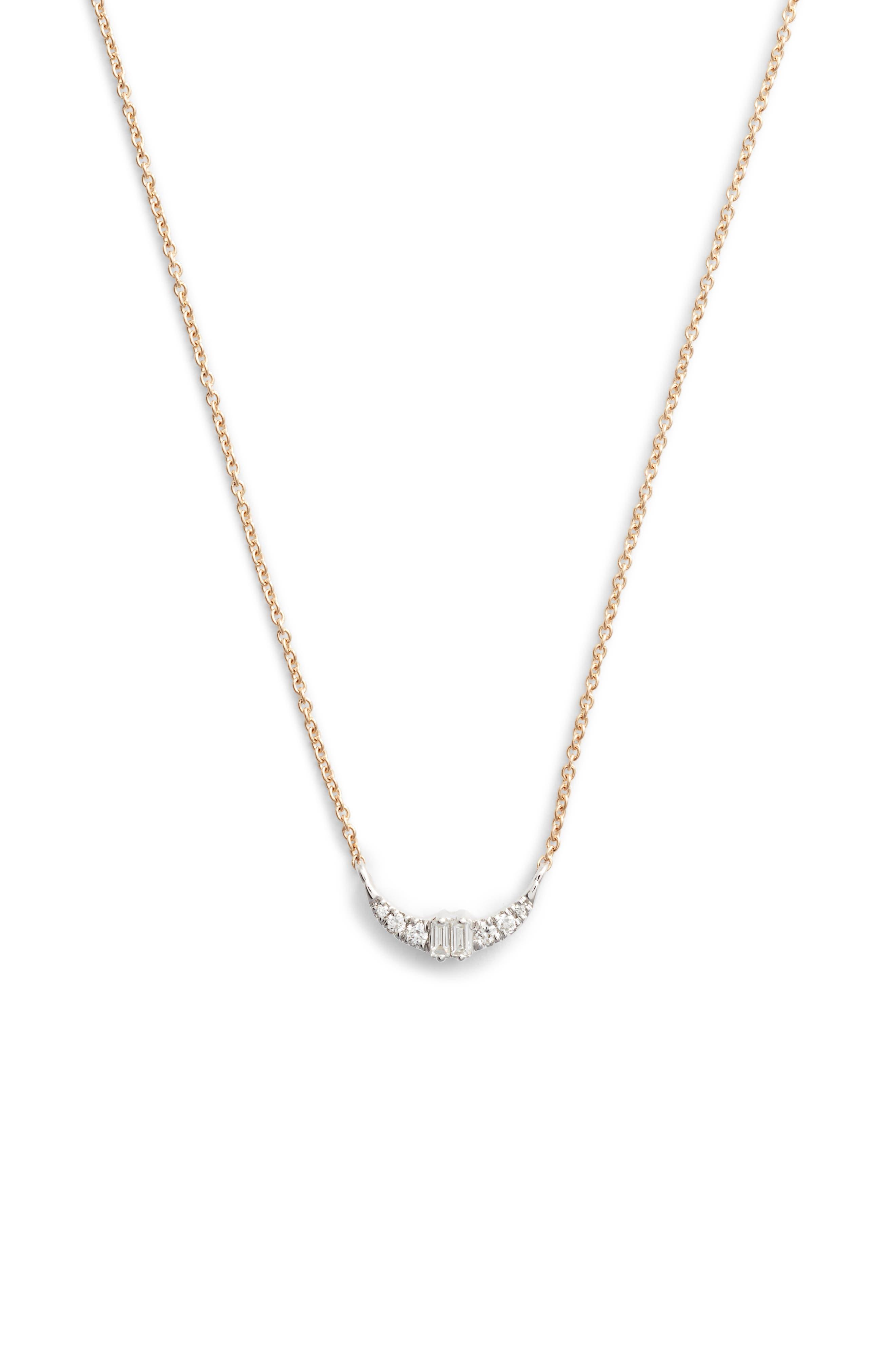 Dana Rebecca Baguette Crescent Necklace,                         Main,                         color, 713