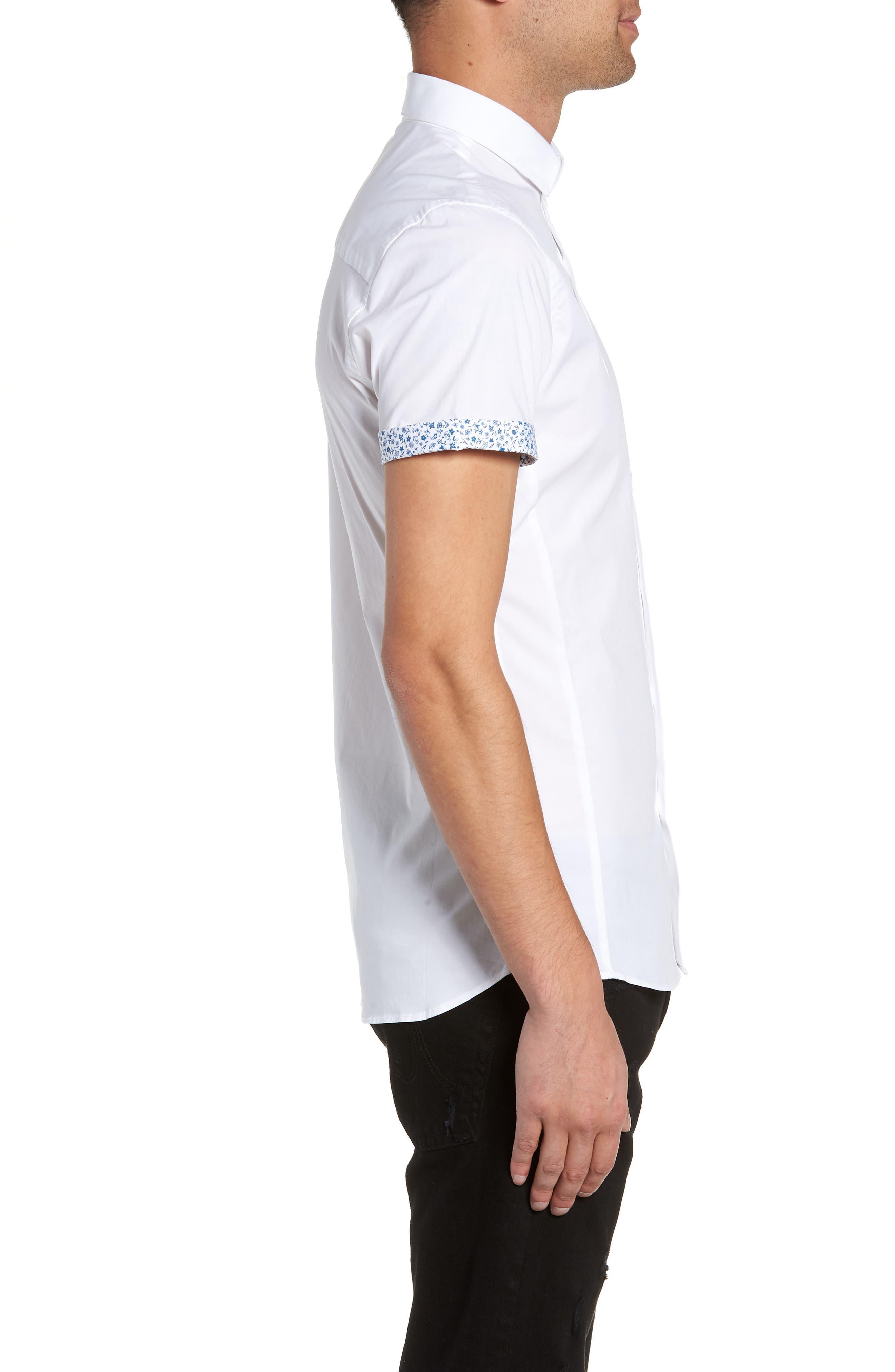 Slim Fit Flower Cuff Shirt,                             Alternate thumbnail 4, color,                             WHITE MULTI