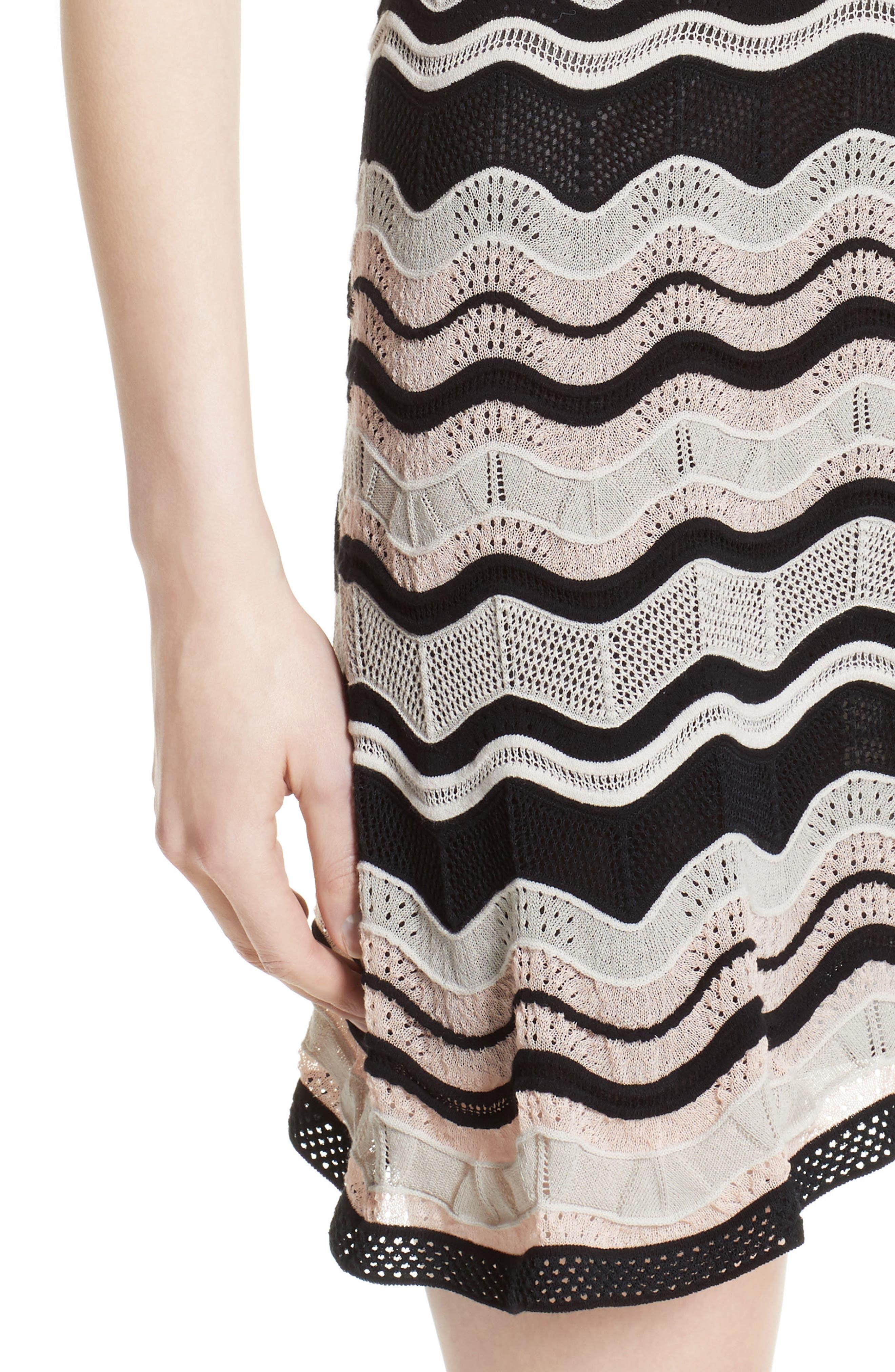Ripple Ribbon Fit & Flare Dress,                             Alternate thumbnail 4, color,                             661