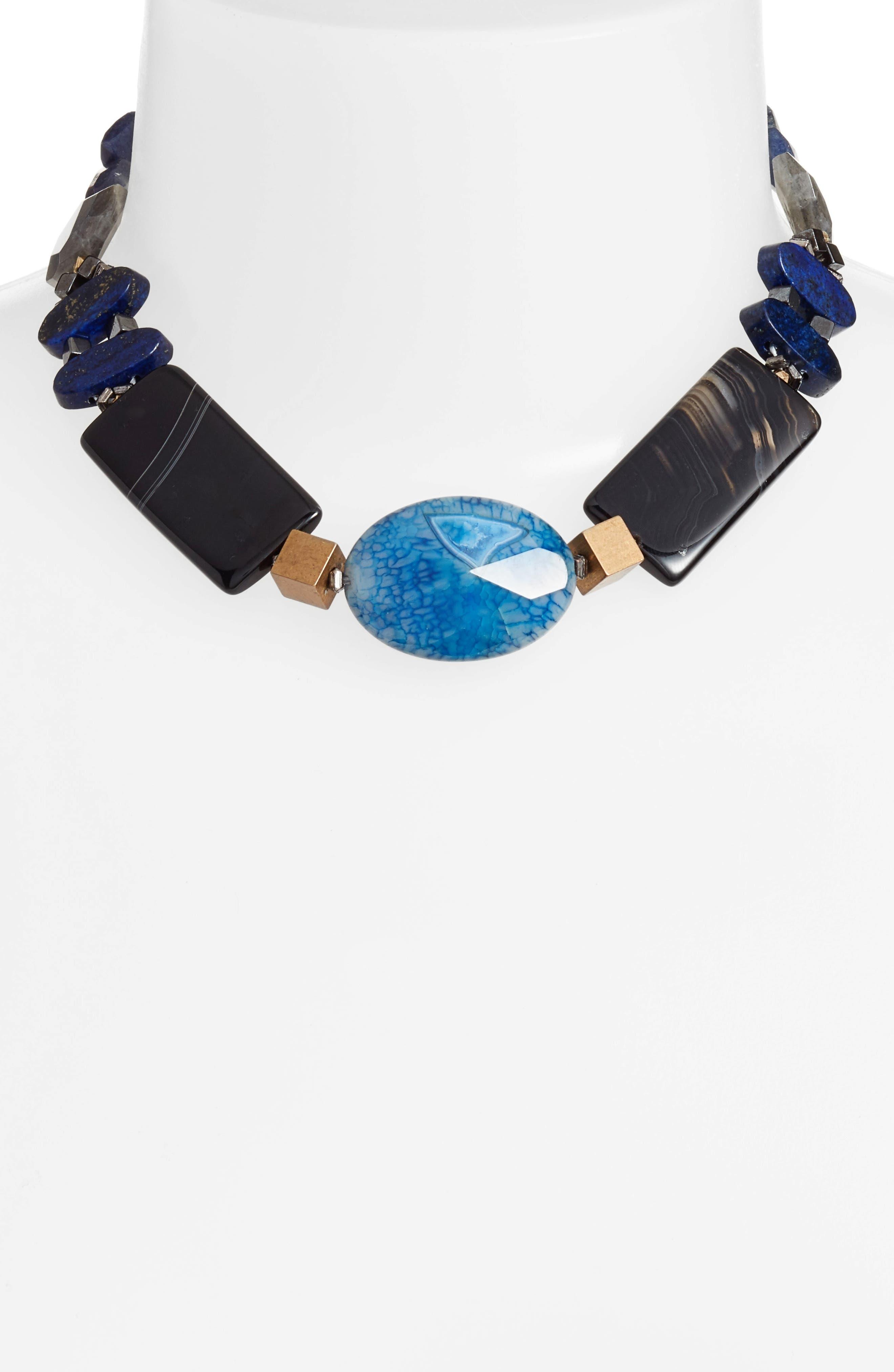 Chunky Agate & Lapis Short Necklace,                             Alternate thumbnail 2, color,                             400