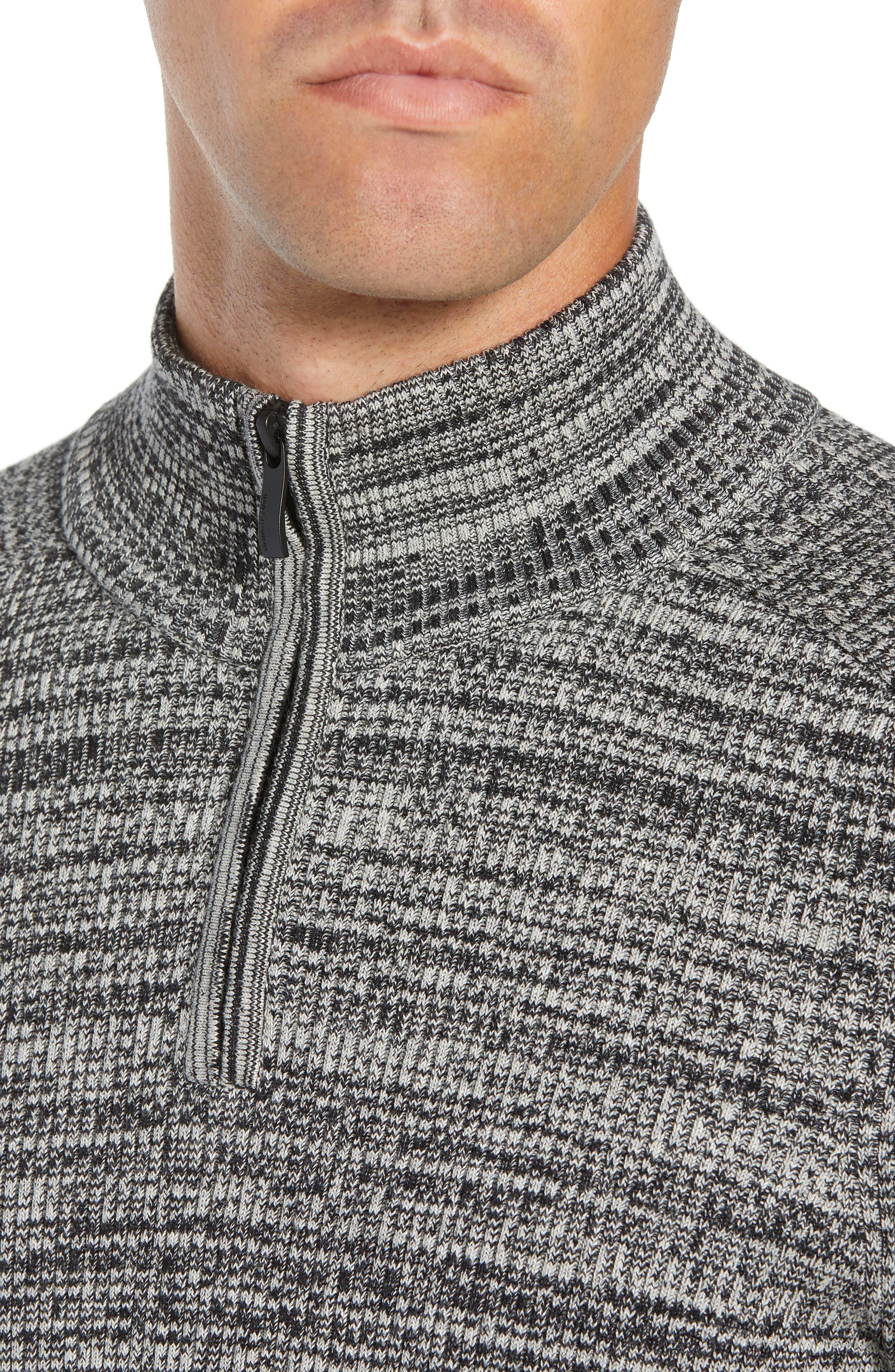 Vince Caumto Quarter Zip Mock Neck Sweater,                             Alternate thumbnail 4, color,                             GREY