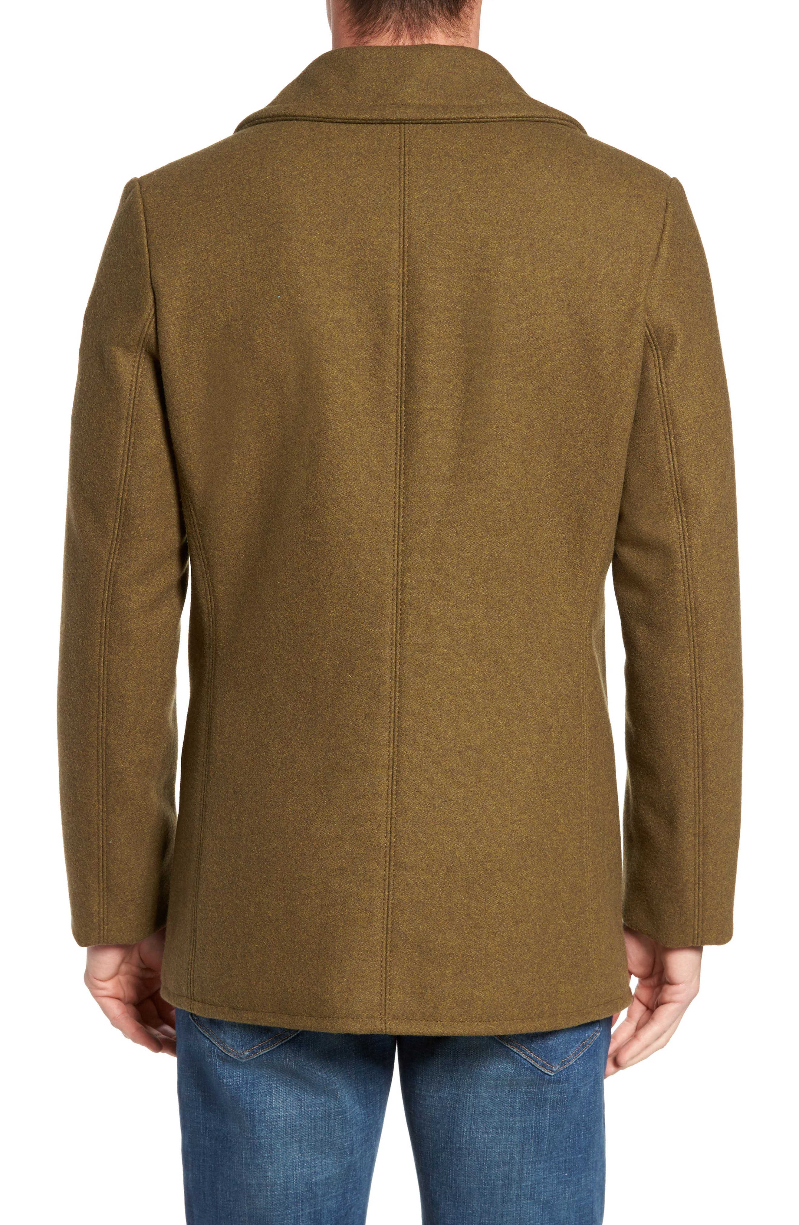 Embellished Slim Wool Blend Peacoat,                             Alternate thumbnail 2, color,                             252