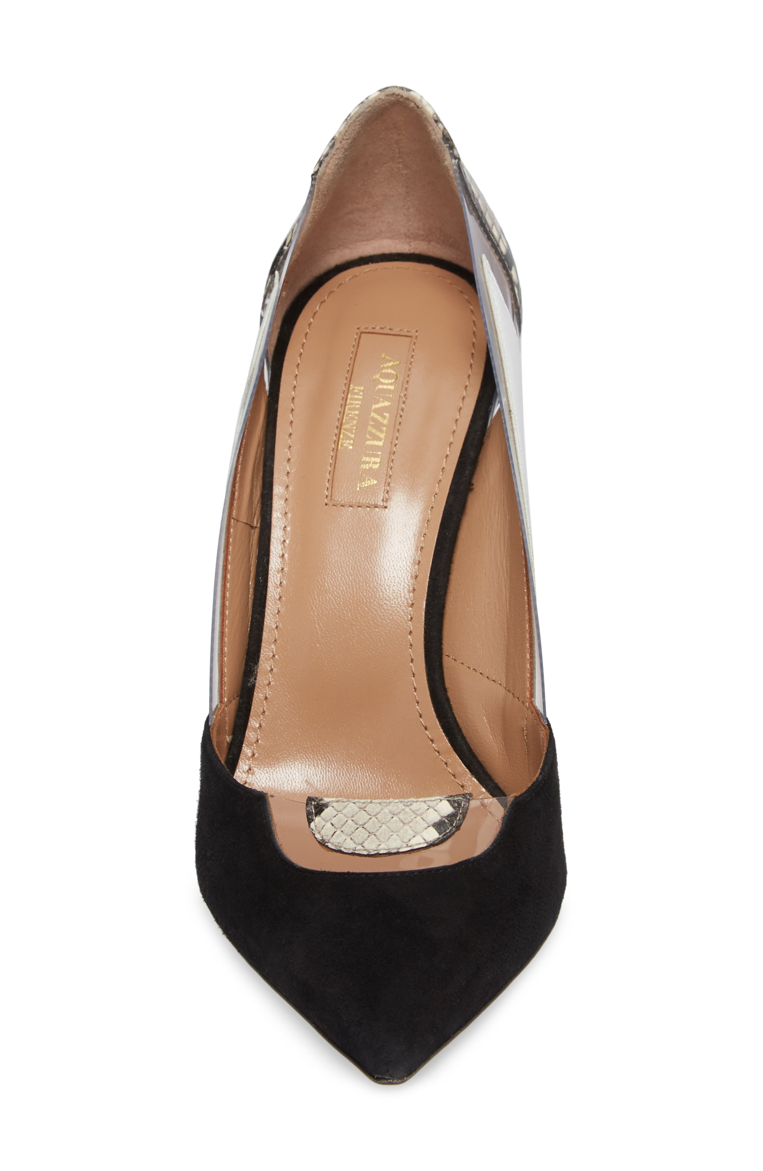 Fearless Genuine Snakeskin Pointy Toe Pump,                             Alternate thumbnail 4, color,                             006
