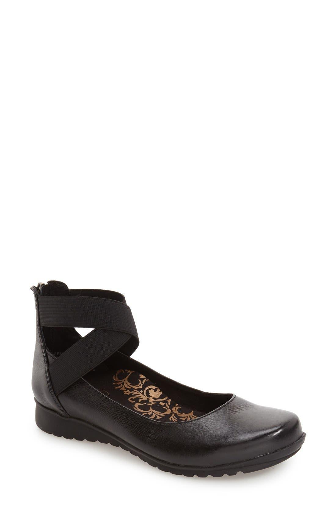 AETREX 'Dakota' Ankle Strap Ballet Flat, Main, color, BLACK LEATHER