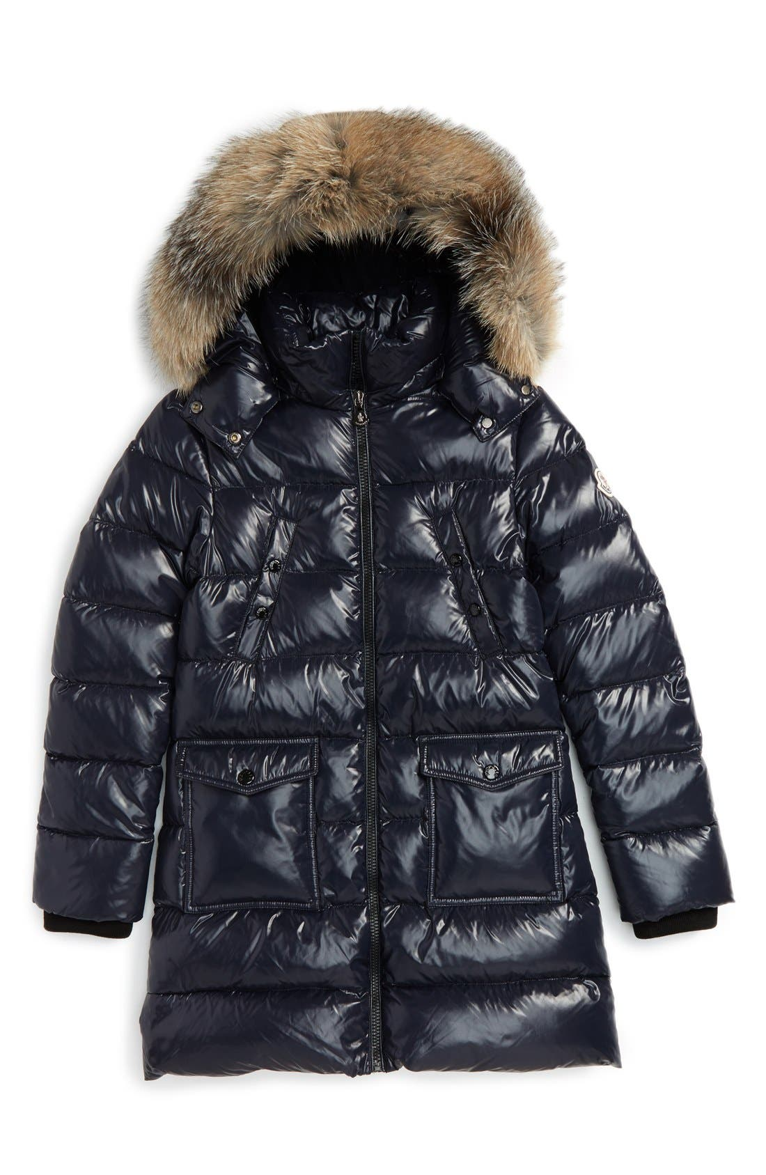 MONCLER,                             Fragont Down Parka with Genuine Fox Fur Trim,                             Main thumbnail 1, color,                             419