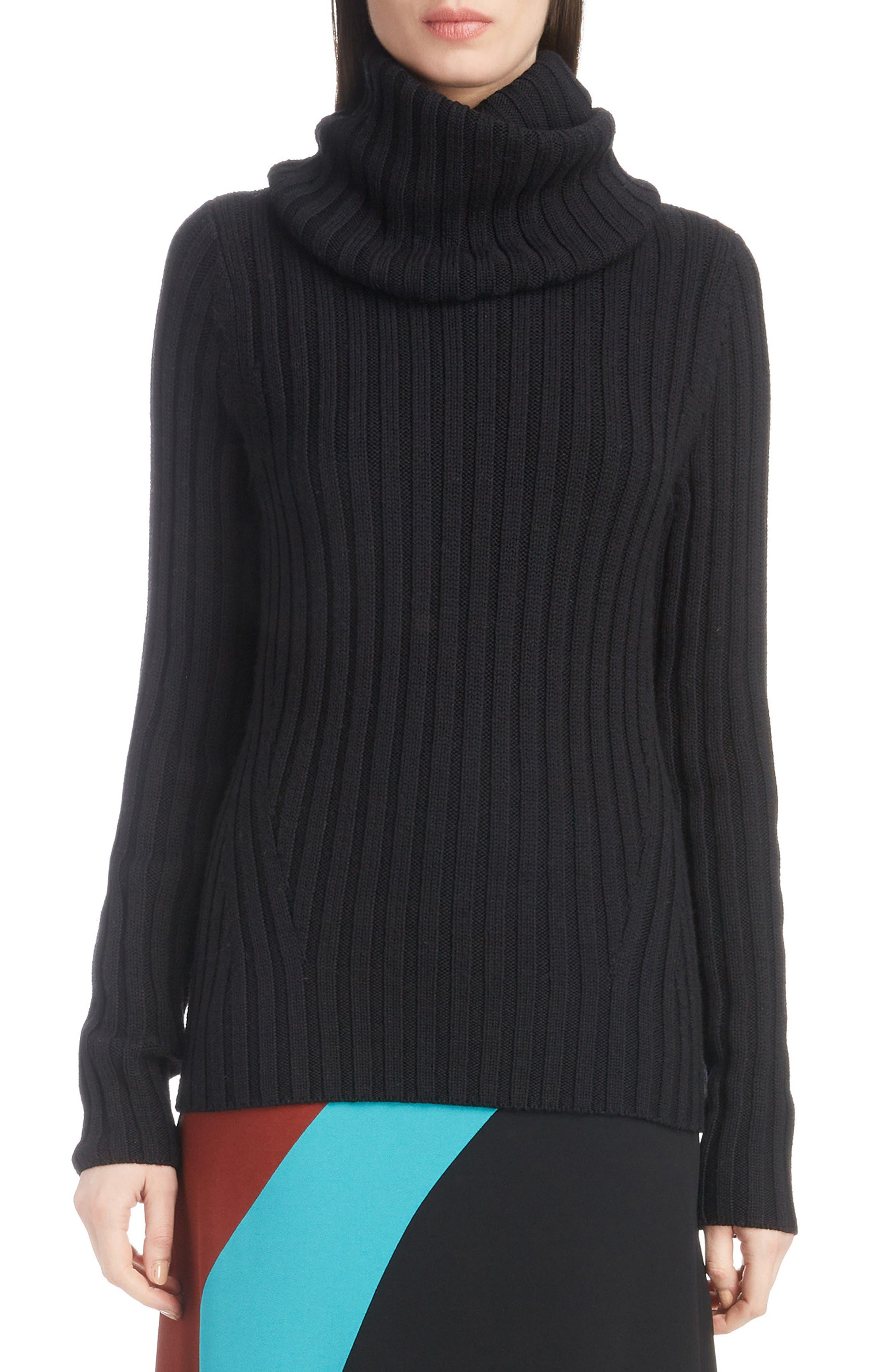 DRIES VAN NOTEN,                             Turtleneck Wool Sweater,                             Main thumbnail 1, color,                             BLACK