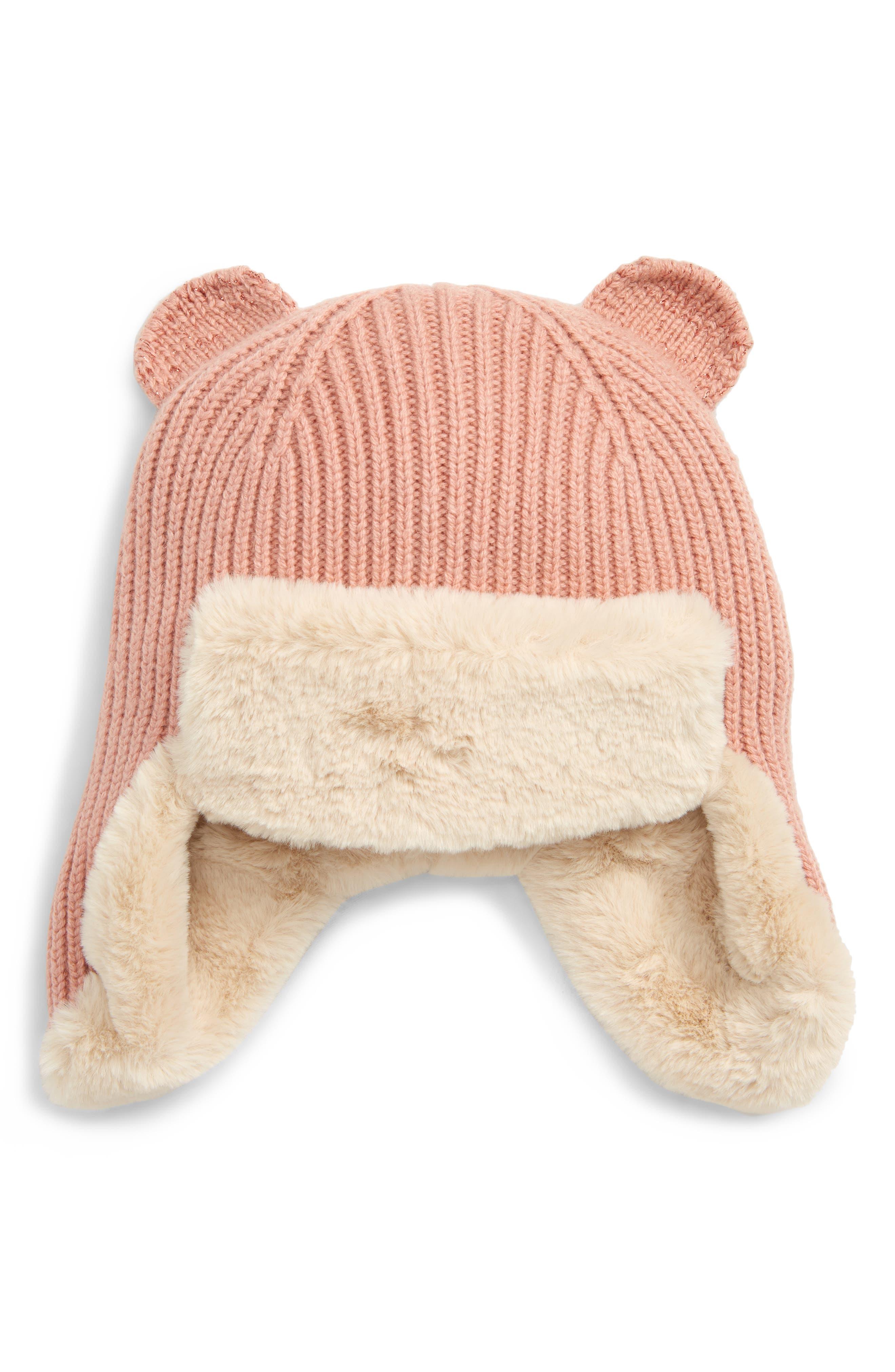 Knit Faux Fur Lined Hat,                             Main thumbnail 1, color,                             PALE RED LUREX