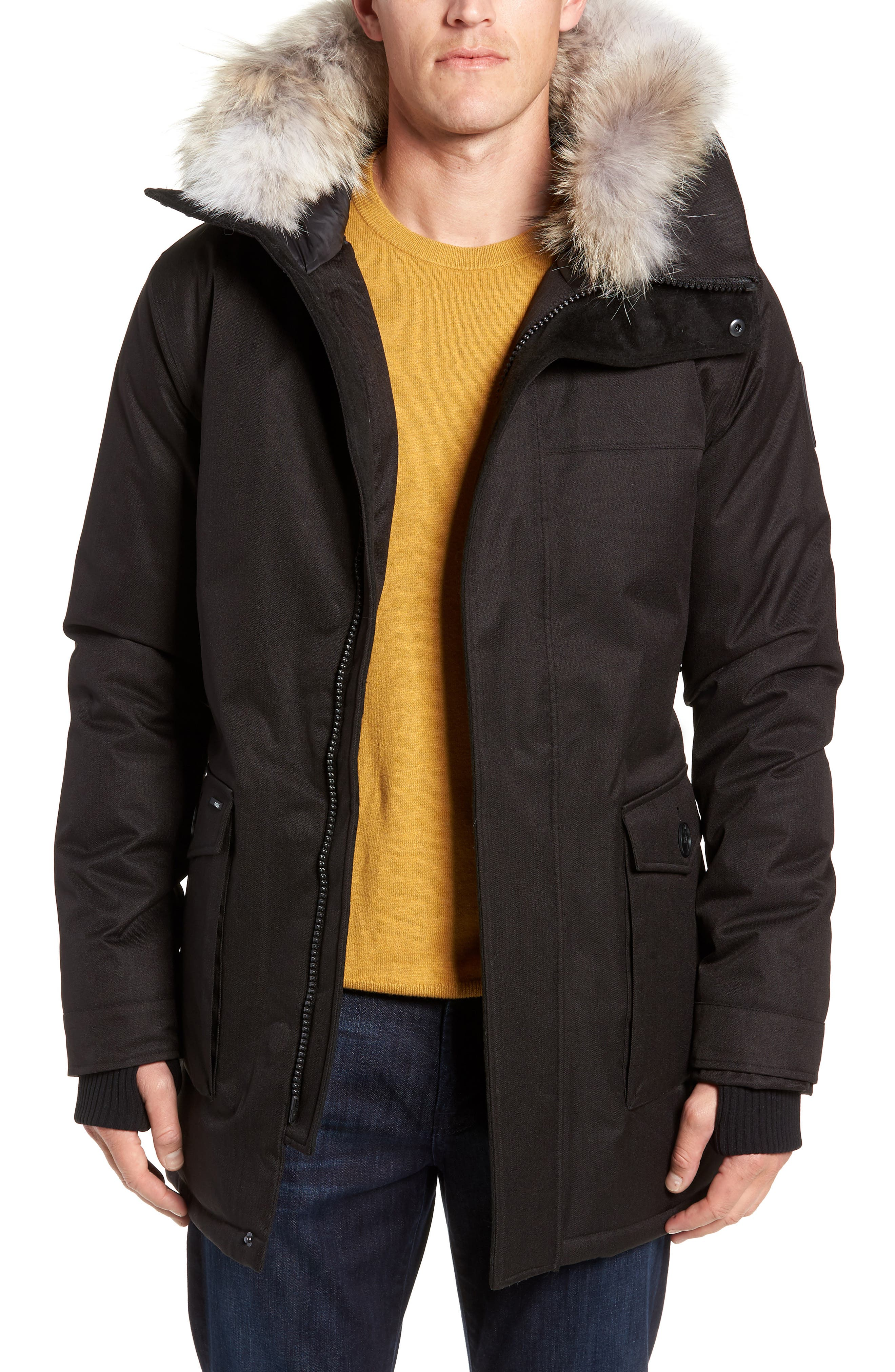 Yves Windproof & Waterproof 650 Fill Power Down Parka with Genuine Coyote Fur Trim,                             Main thumbnail 1, color,                             BLACK