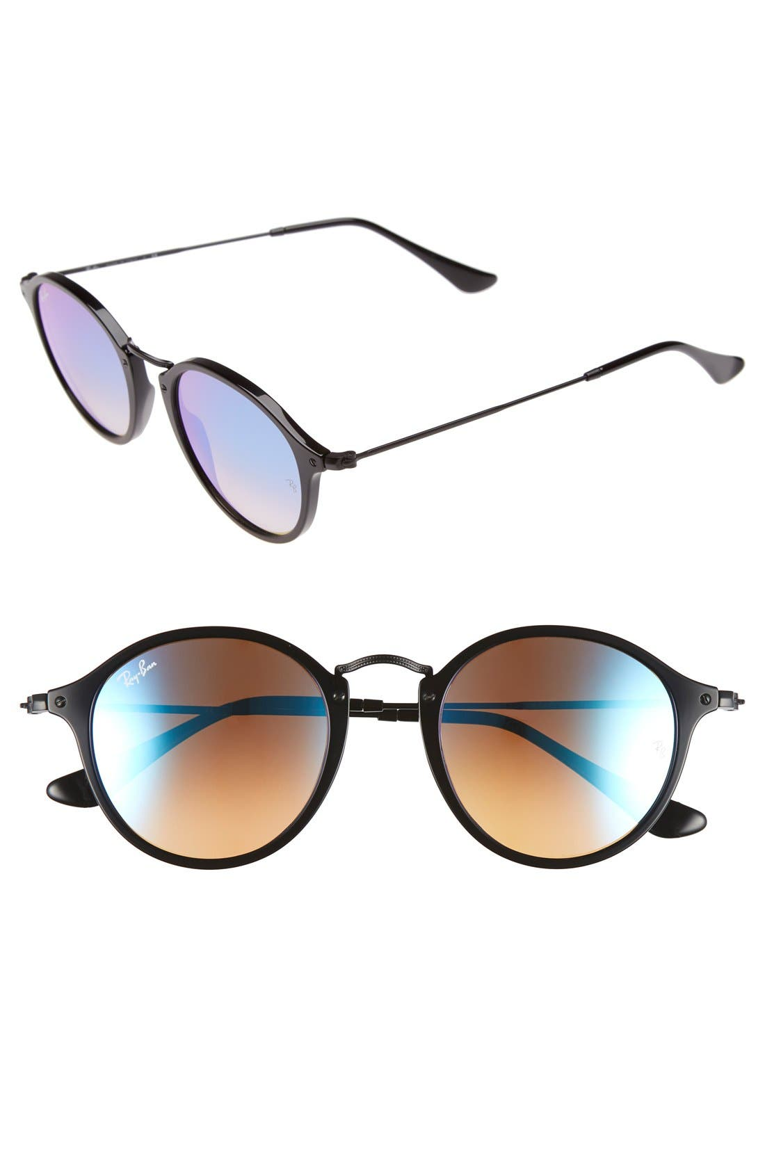 Icons 49mm Round Sunglasses,                             Main thumbnail 1, color,                             014