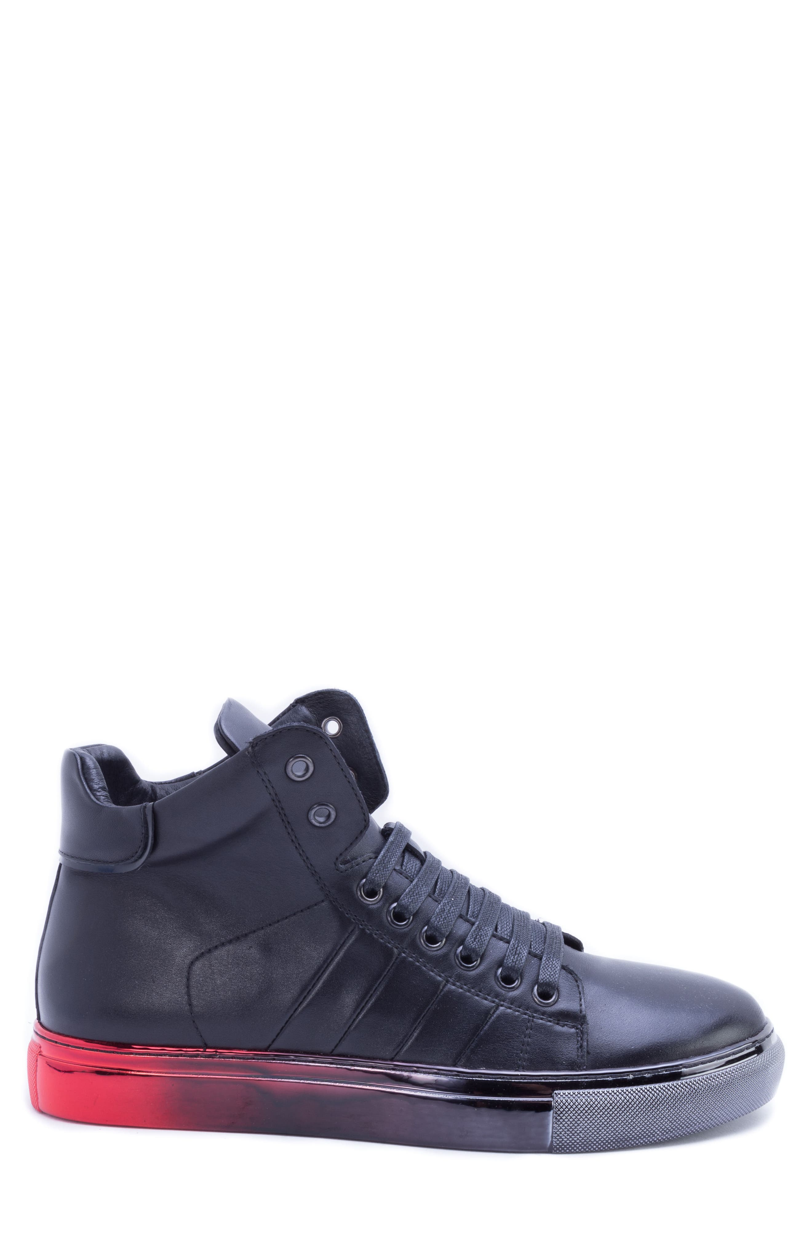 BADGLEY MISCHKA COLLECTION,                             Badgley Mischka Bronson Sneaker,                             Alternate thumbnail 3, color,                             BLACK LEATHER