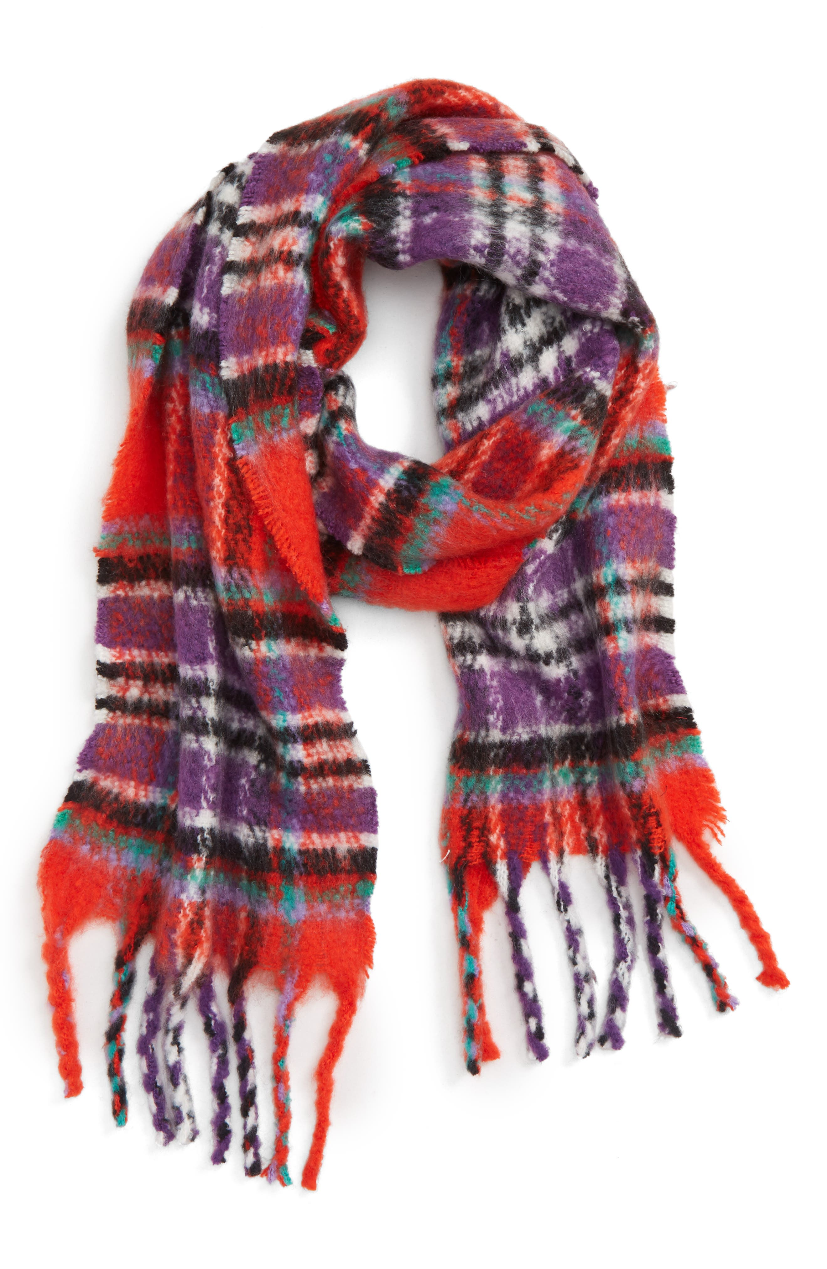 Heavy Check Scarf,                             Alternate thumbnail 2, color,                             RED MULTI