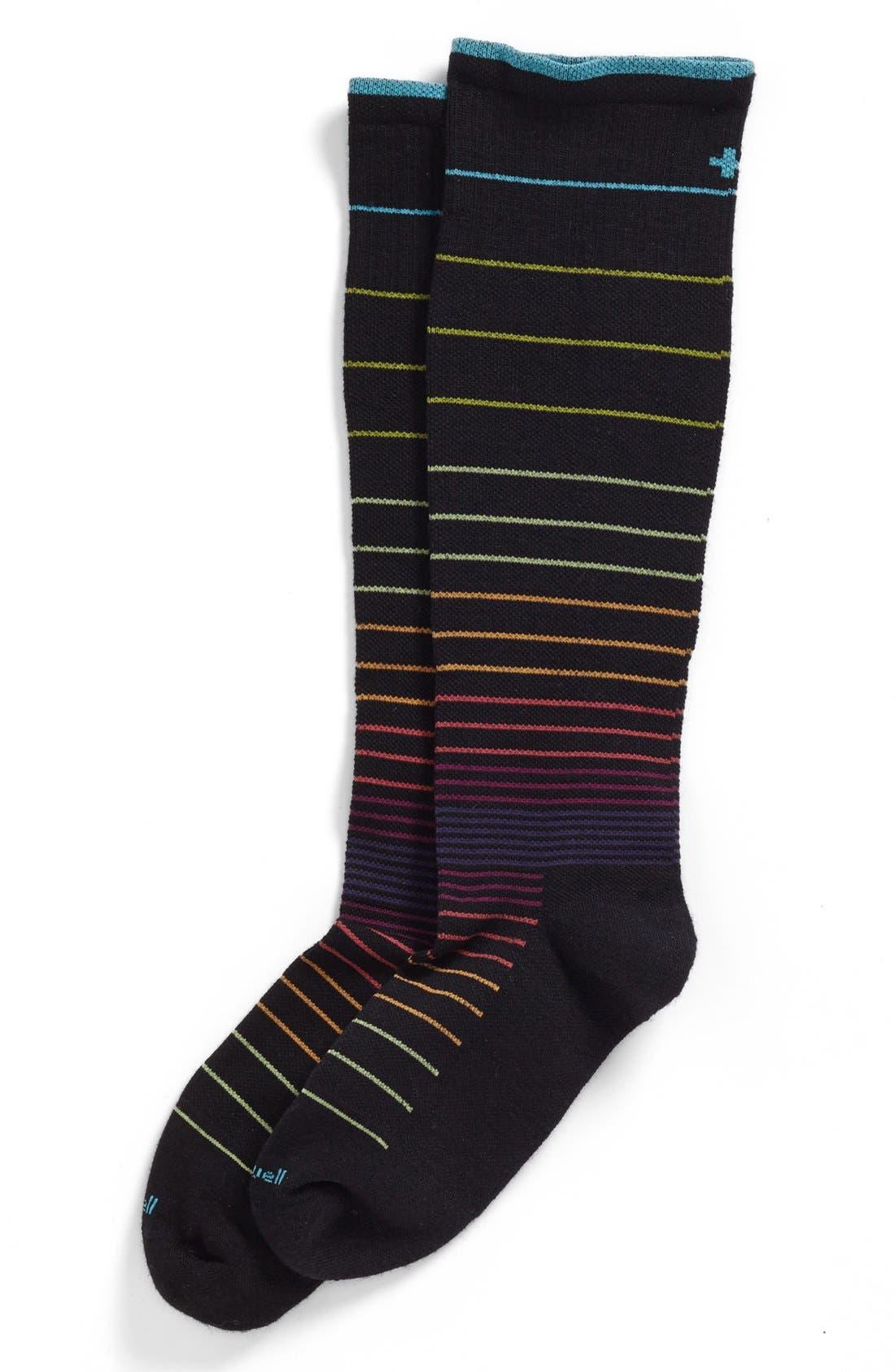 Circulator Compression Socks,                             Main thumbnail 1, color,                             BLACK STRIPE