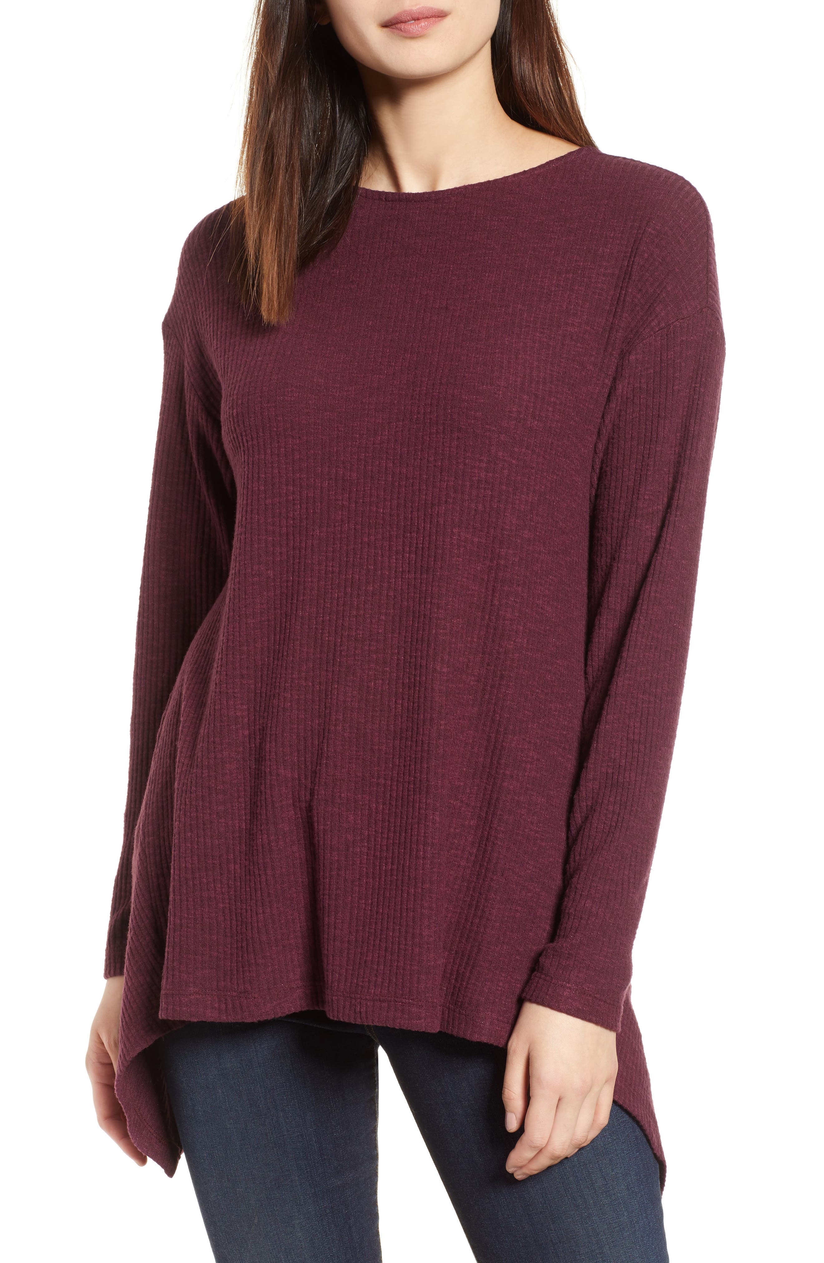 Ribbed Cozy Fleece Twist Back Top,                             Main thumbnail 4, color,