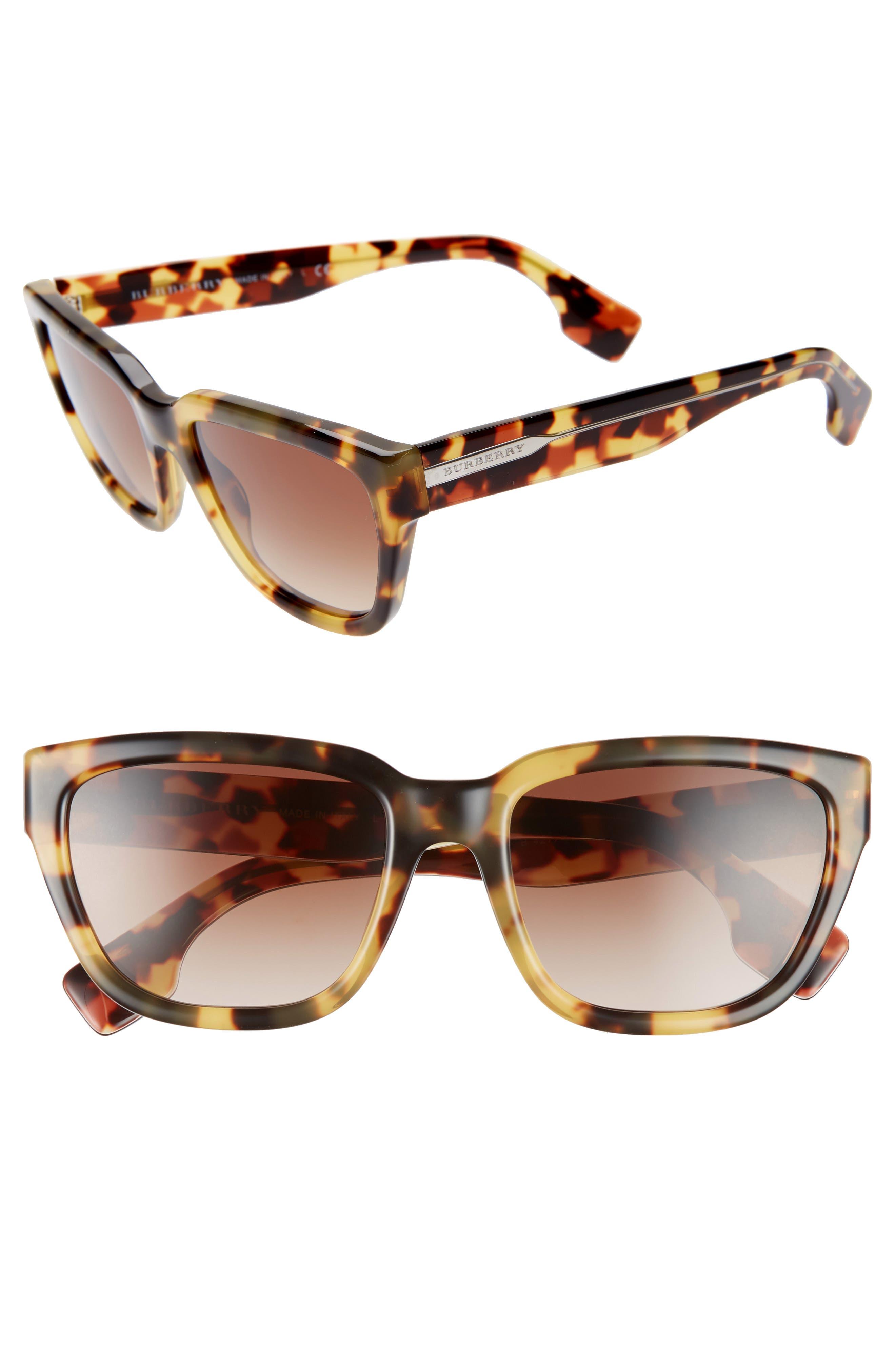 54mm Square Sunglasses,                         Main,                         color, LITE HAVANA/ BROWN GRADIENT