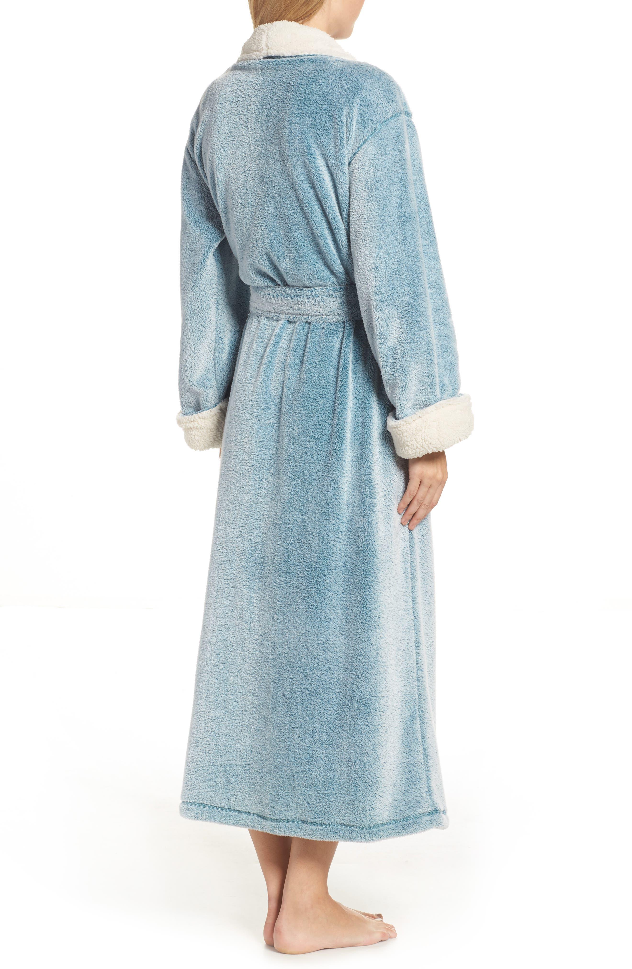 Plush Velour Robe,                             Alternate thumbnail 2, color,                             LIGHT BLUE