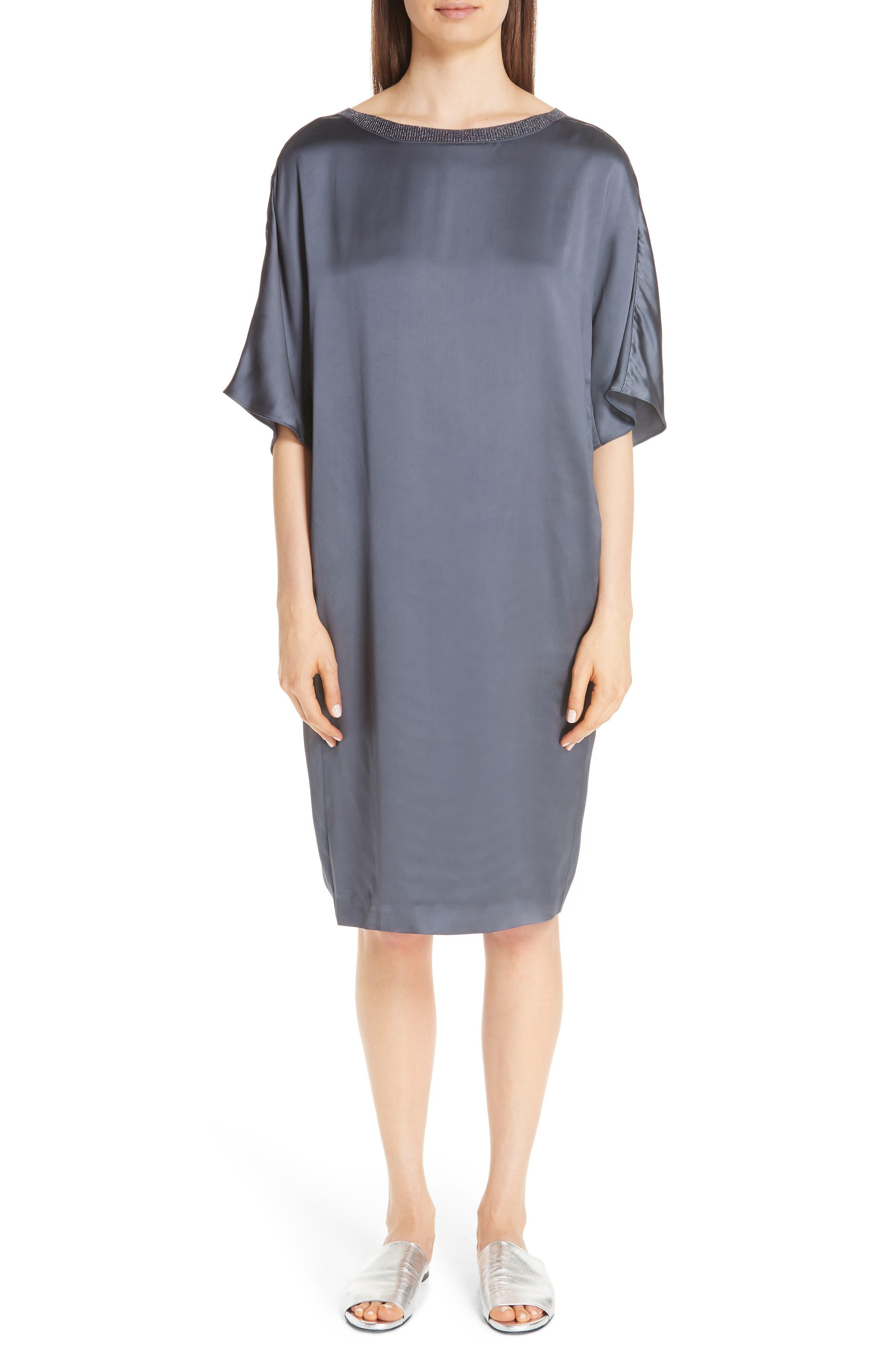 Fabiana Filippi Metallic Trim Satin Dress, US / 40 IT - Blue