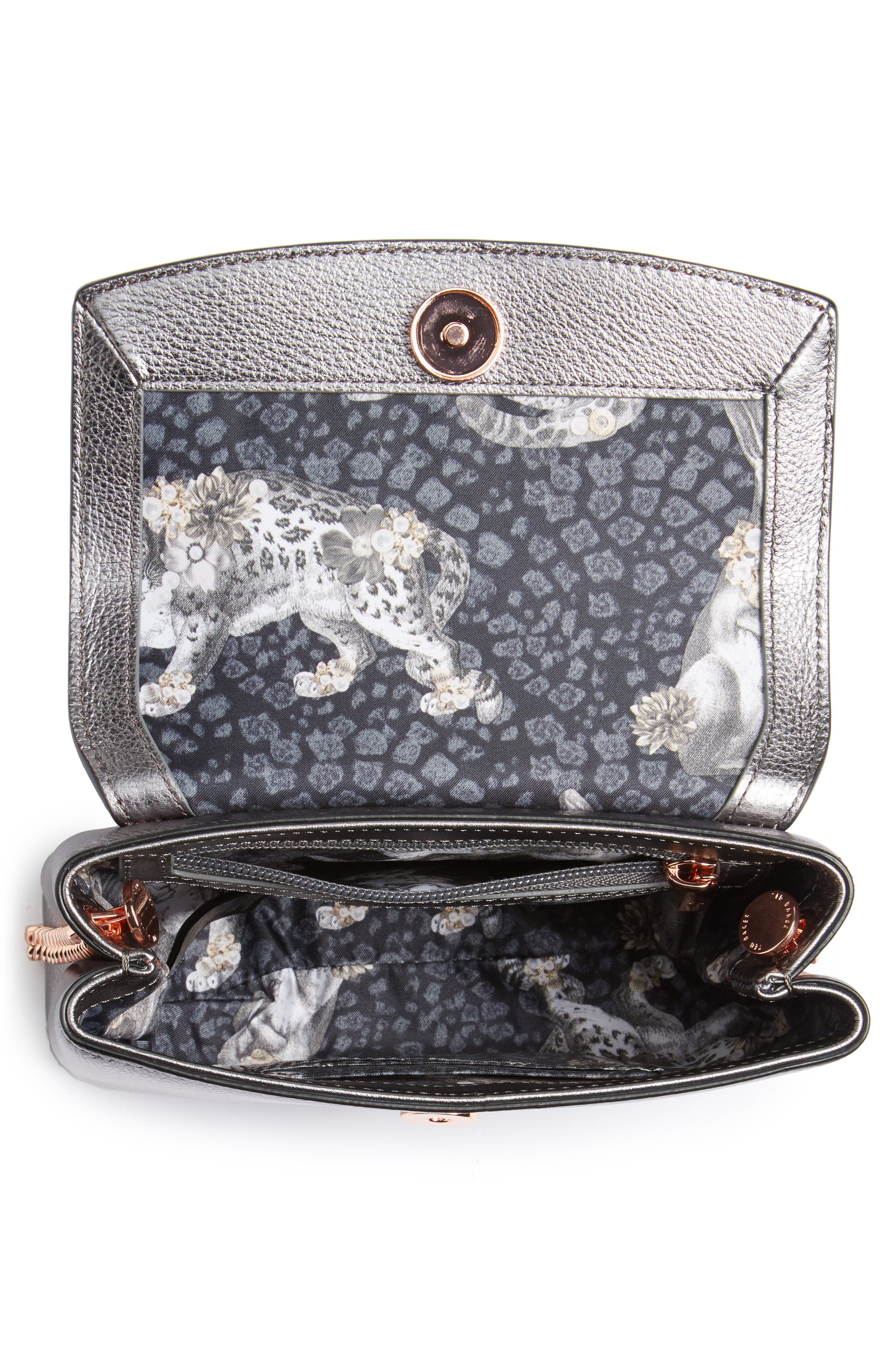 Lupiin Metallic Leather Crossbody Bag,                             Alternate thumbnail 4, color,                             022