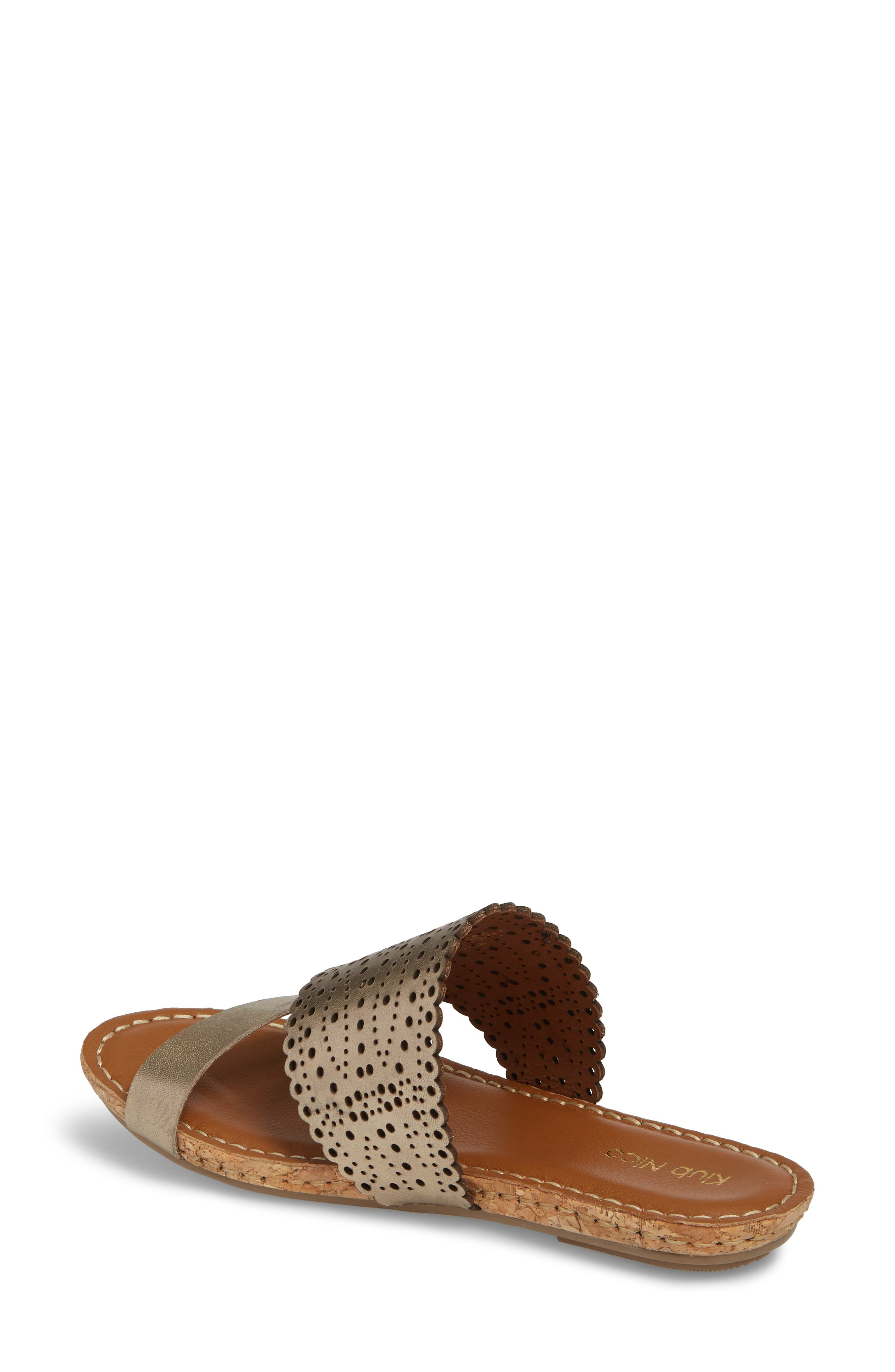 Ginette Perforated Slide Sandal,                             Alternate thumbnail 2, color,                             PEWTER LEATHER