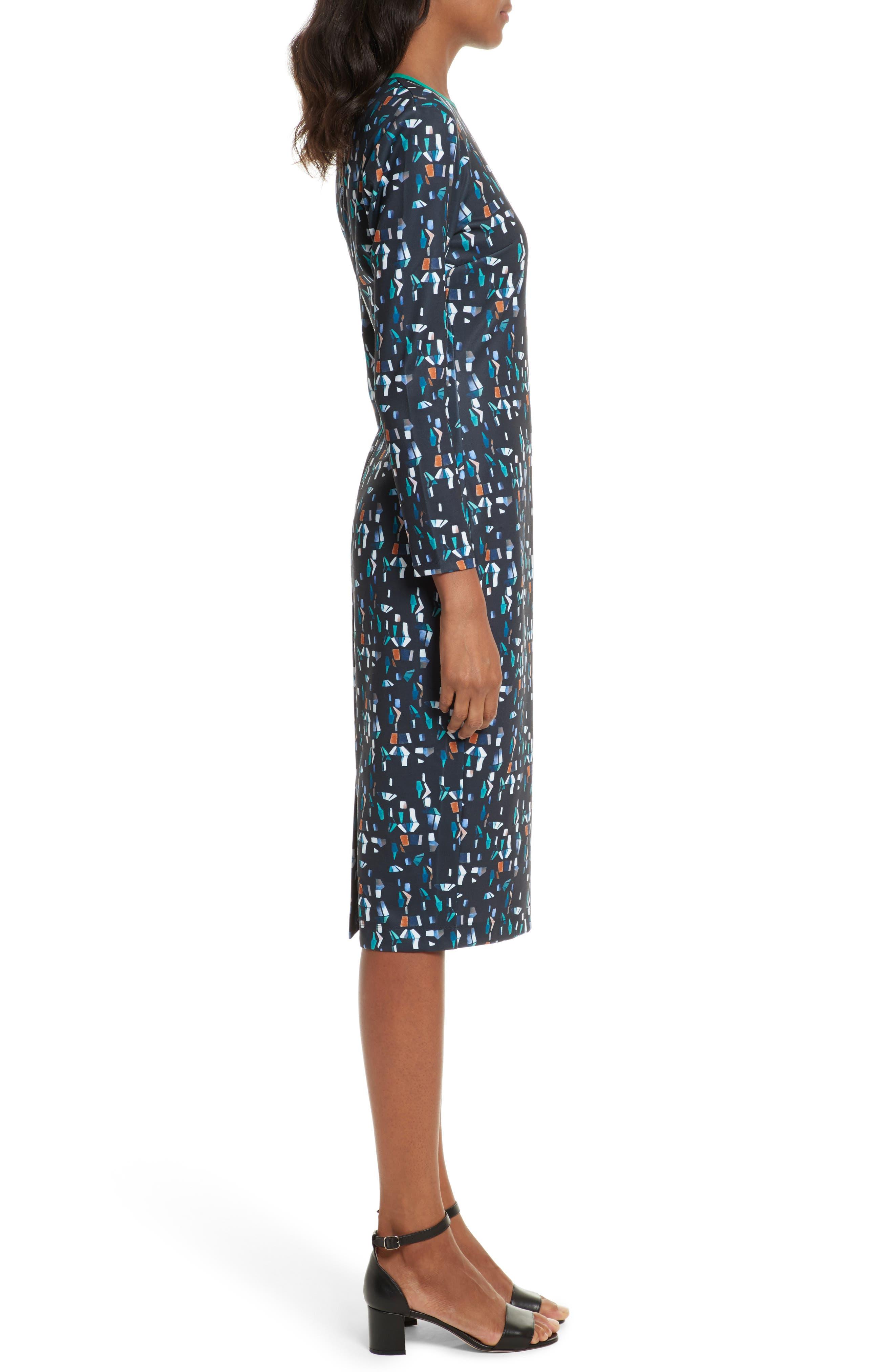 Kielder Print Body-Con Dress,                             Alternate thumbnail 3, color,                             410