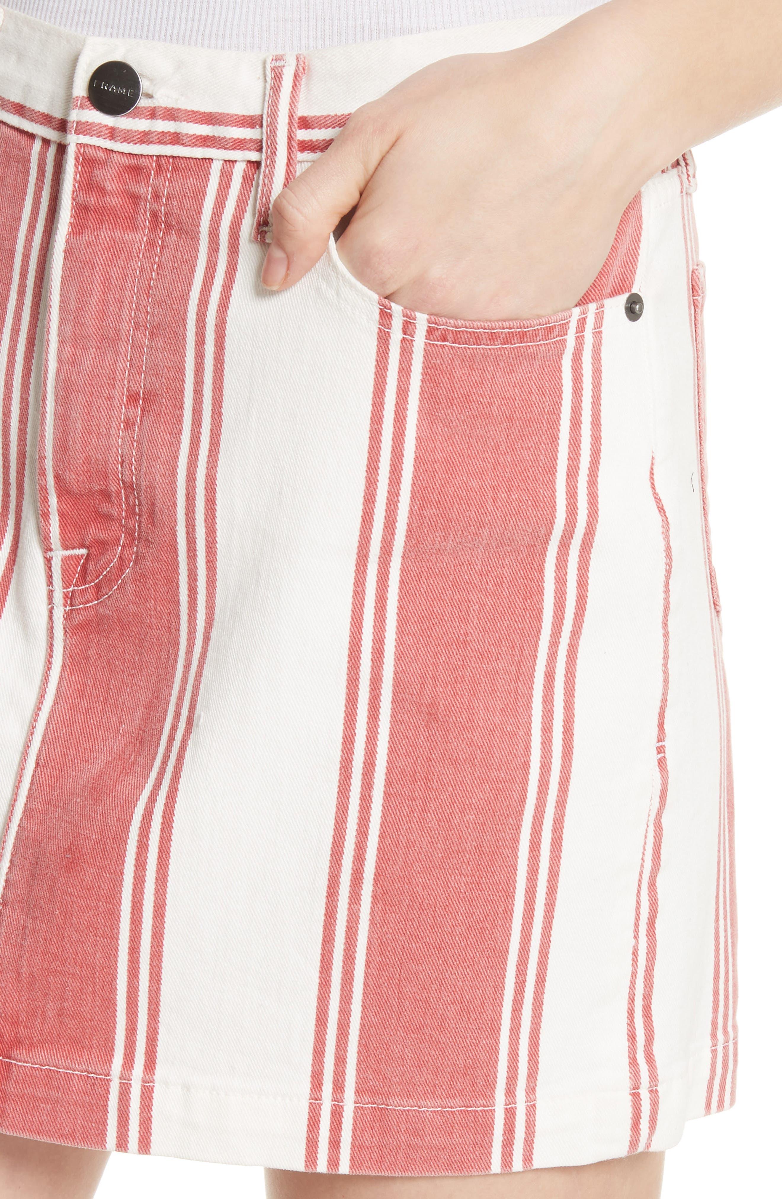 Le Mini Stripe Denim Skirt,                             Alternate thumbnail 4, color,                             FIERY STRIPE