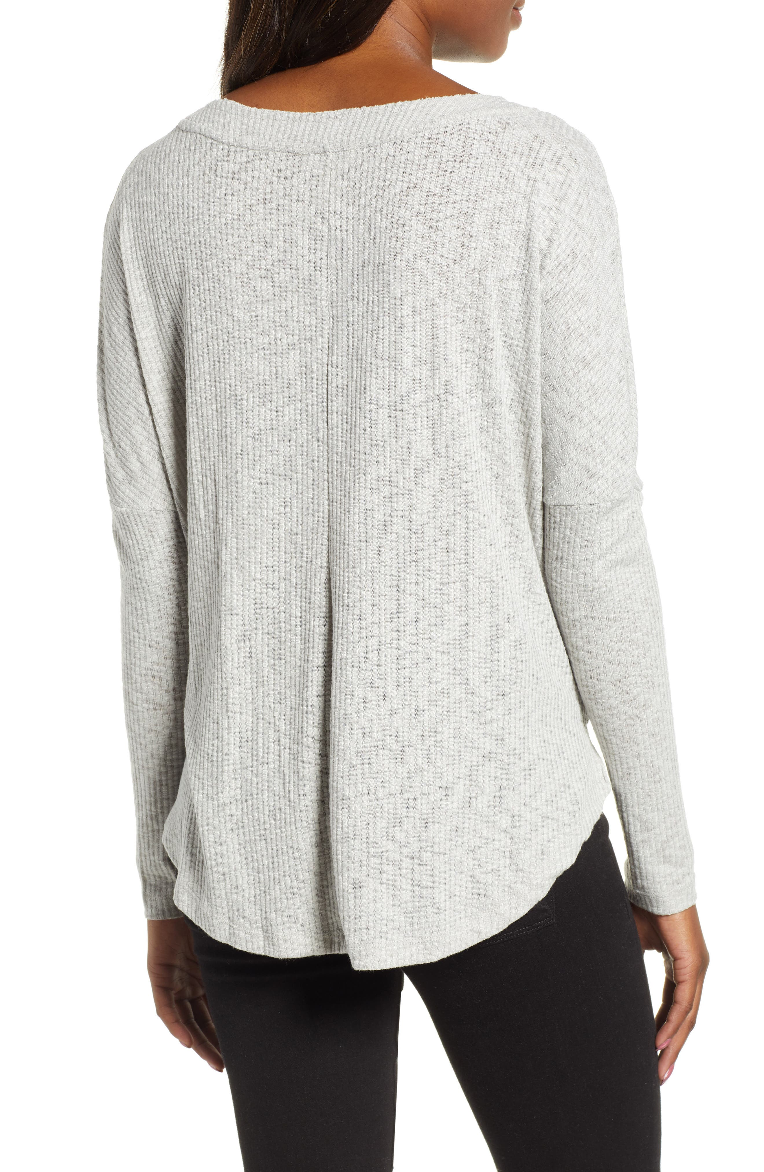 Button Front Ribbed Knit Top,                             Alternate thumbnail 2, color,                             GREY HEATHER