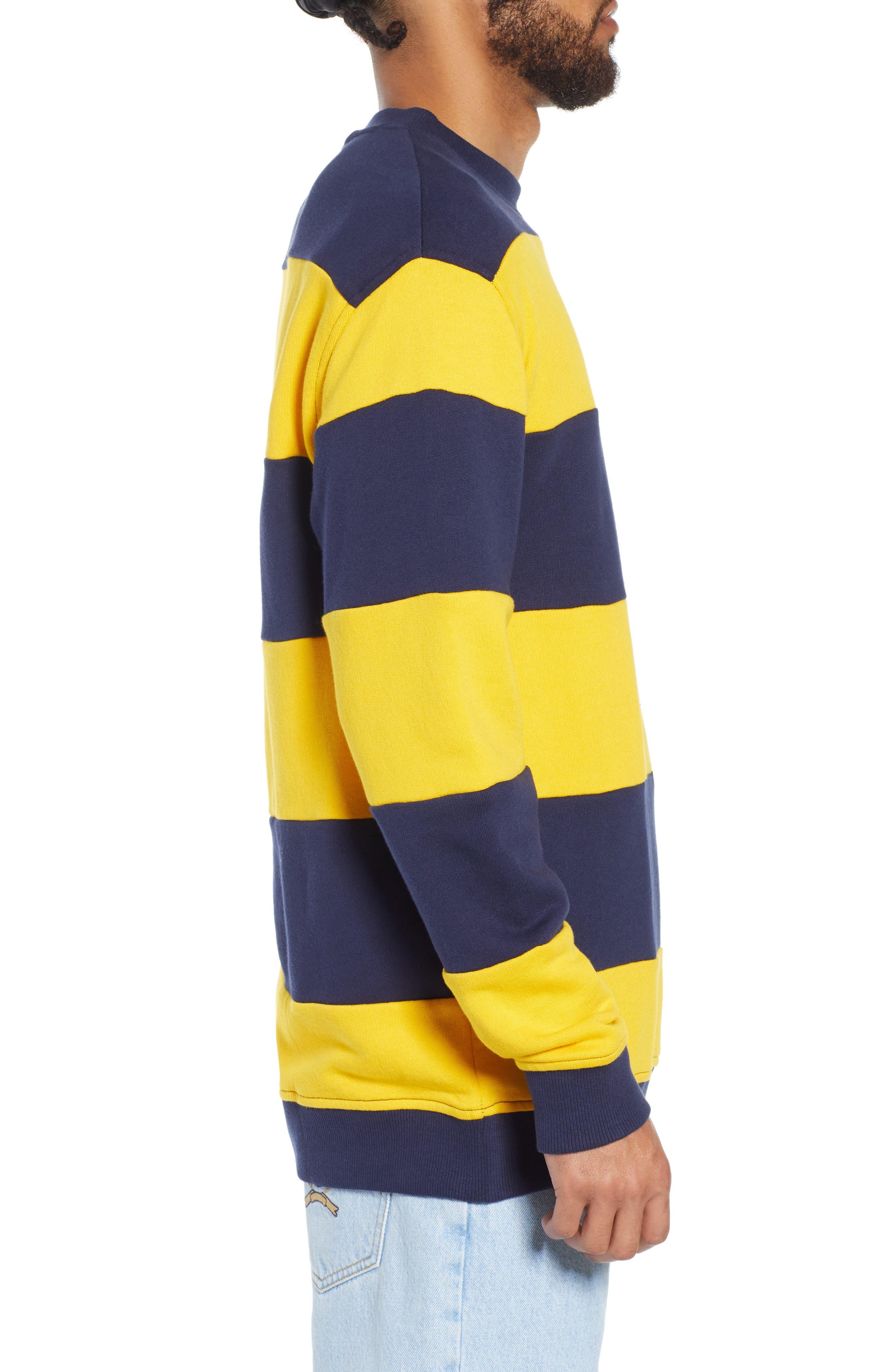 TJM Big Stripe Crew Shirt,                             Alternate thumbnail 3, color,                             BLACK IRIS / SPECTRA YELLOW