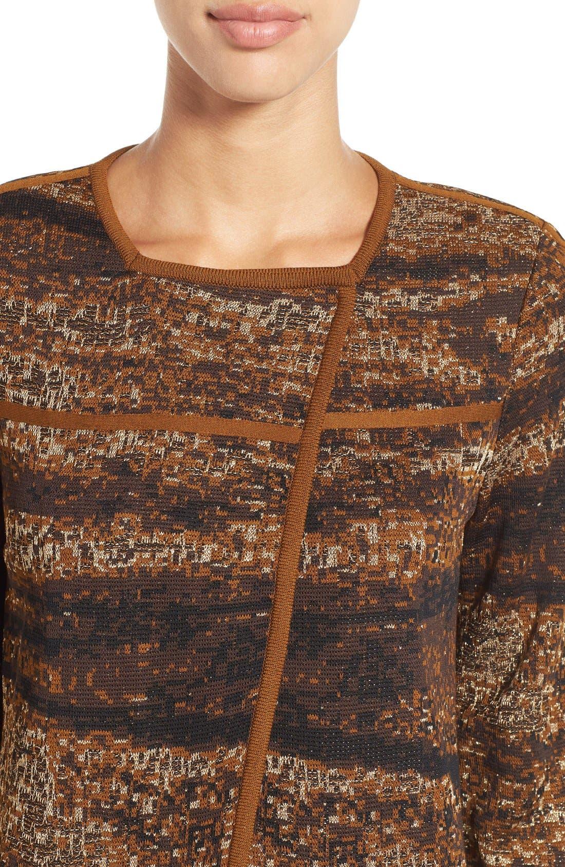 Asymmetrical Jacquard Knit Jacket,                             Alternate thumbnail 4, color,                             241