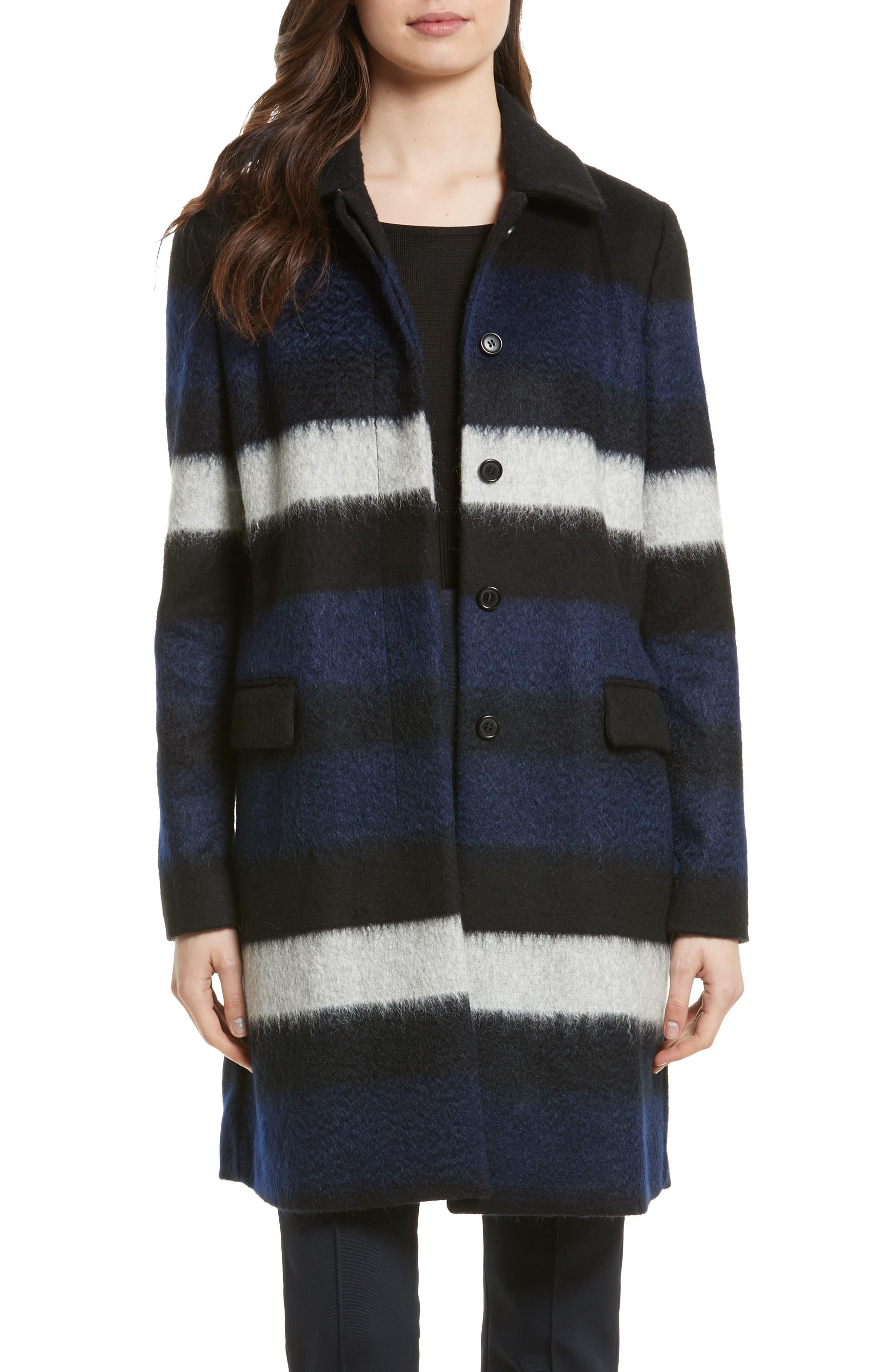DIANE VON FURSTENBERG Stripe Wool Blend Coat, Main, color, 005