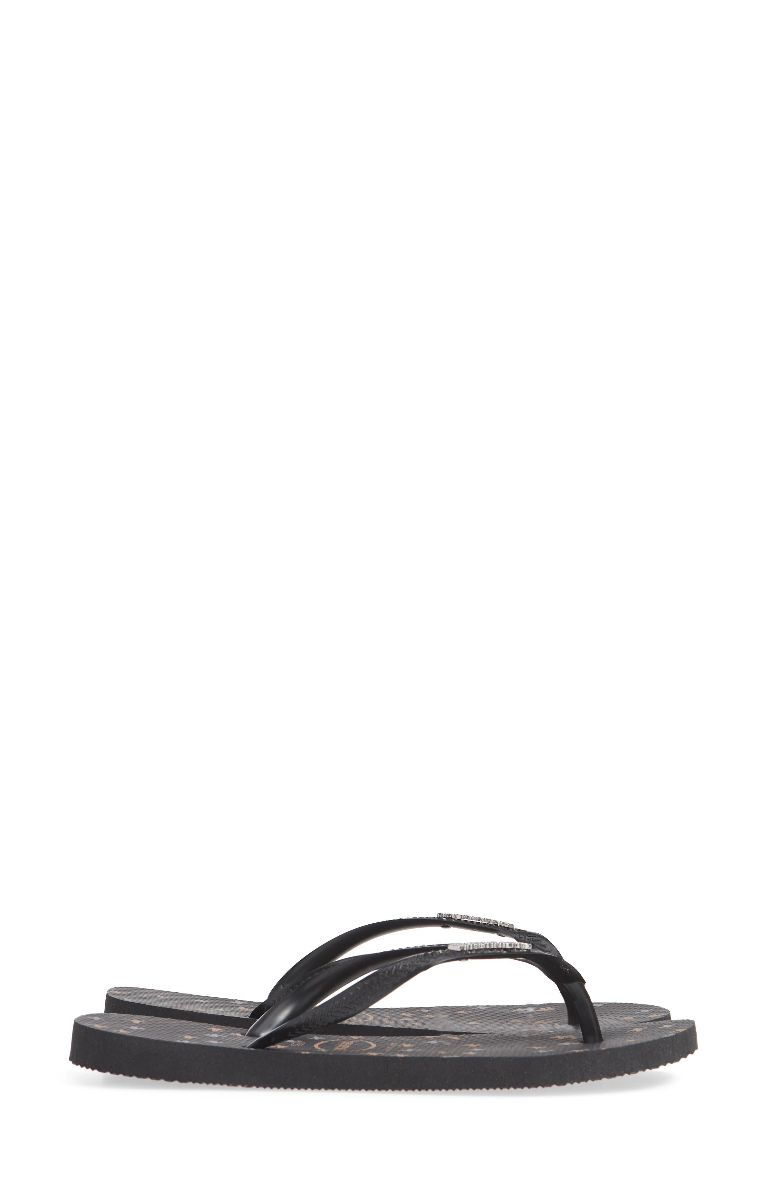 Slim Logo Flip Flop,                             Alternate thumbnail 4, color,                             BLACK/ BLACK/ SILVER