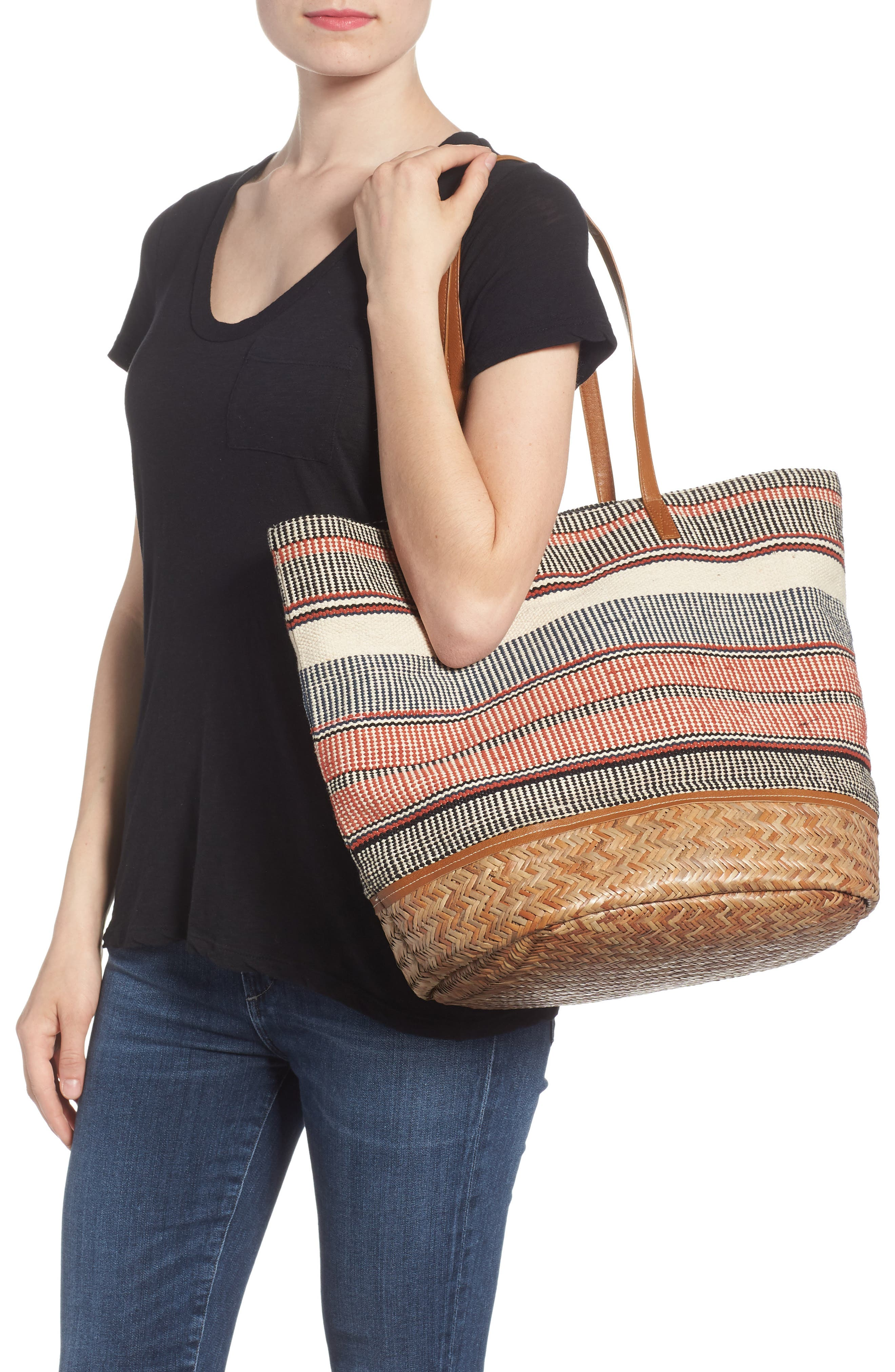 Oversized Fabric Tote,                             Alternate thumbnail 2, color,                             PINK MULTI