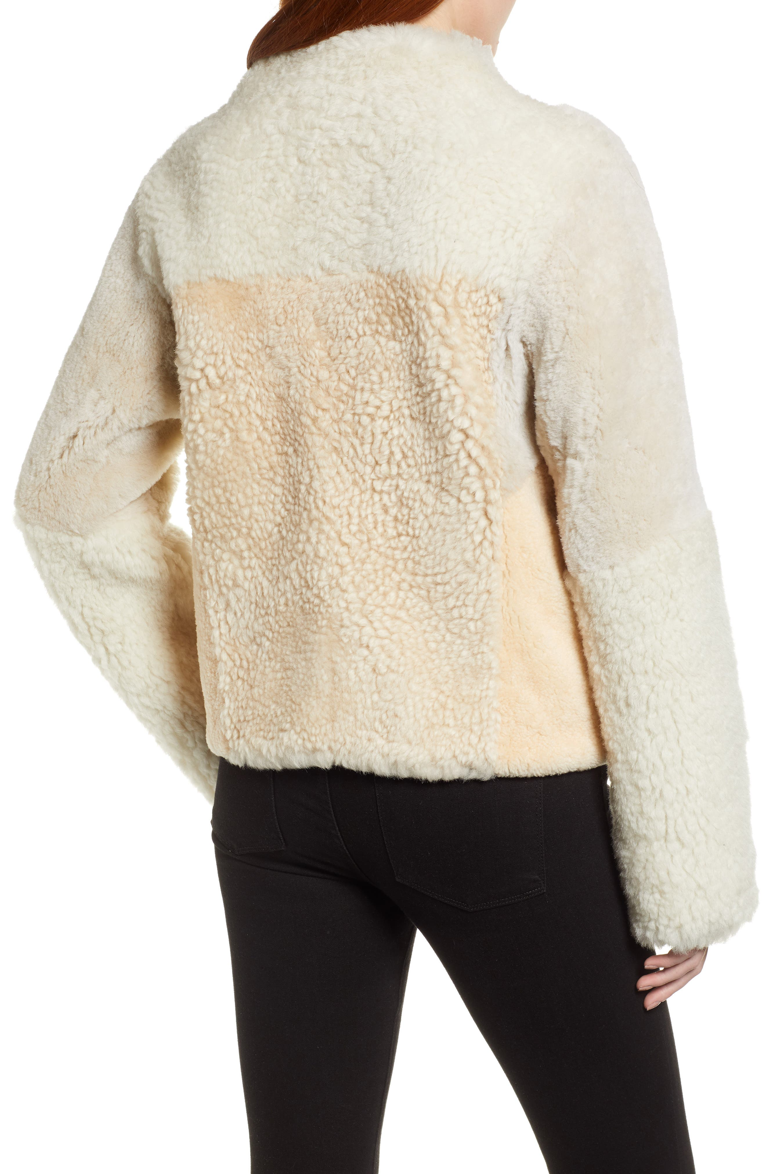 Patchwork Genuine Shearling Jacket,                             Alternate thumbnail 2, color,                             CREAM
