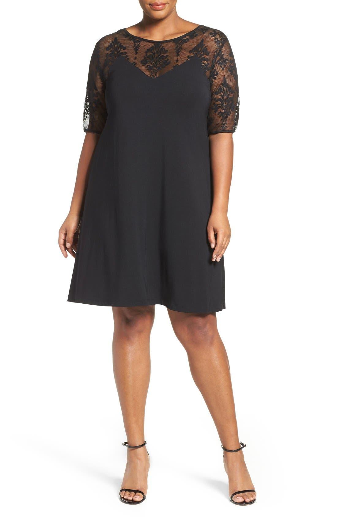 Jessar Lace Yoke Shift Dress,                             Alternate thumbnail 4, color,                             001