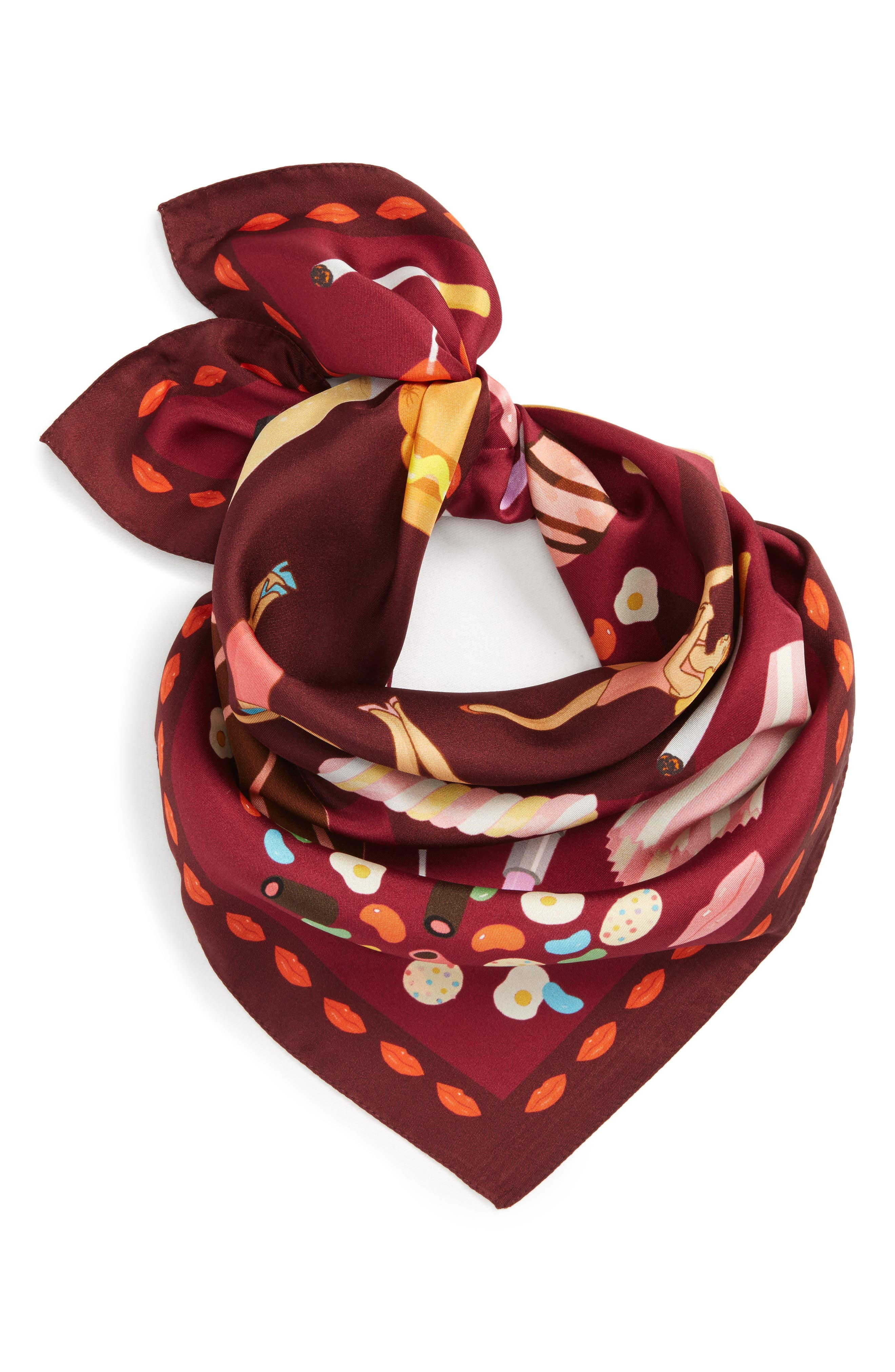 Guilty Pleasures Silk Square Scarf,                             Alternate thumbnail 2, color,