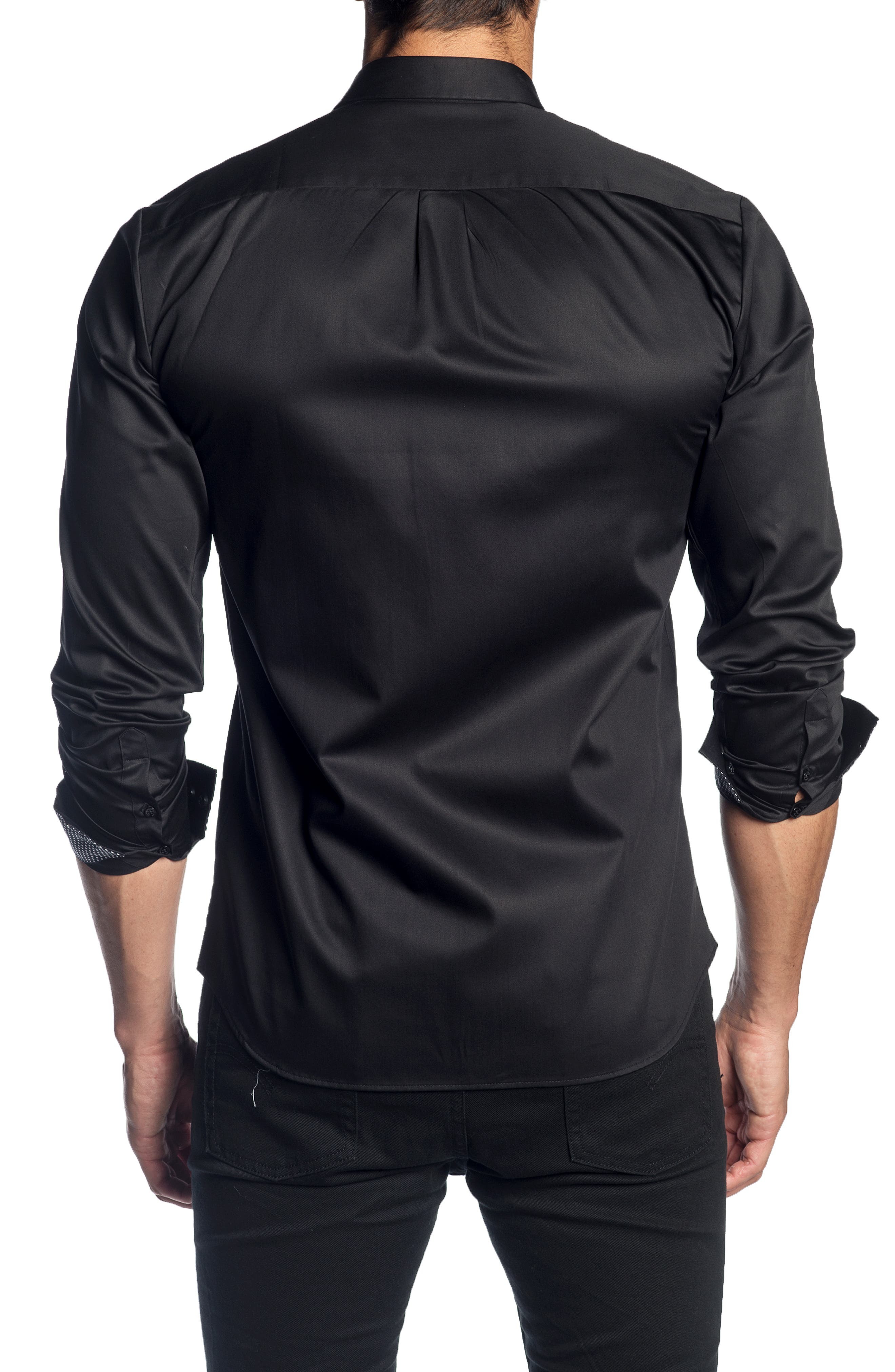 JARED LANG,                             Trim Fit Solid Sport Shirt,                             Alternate thumbnail 2, color,                             001