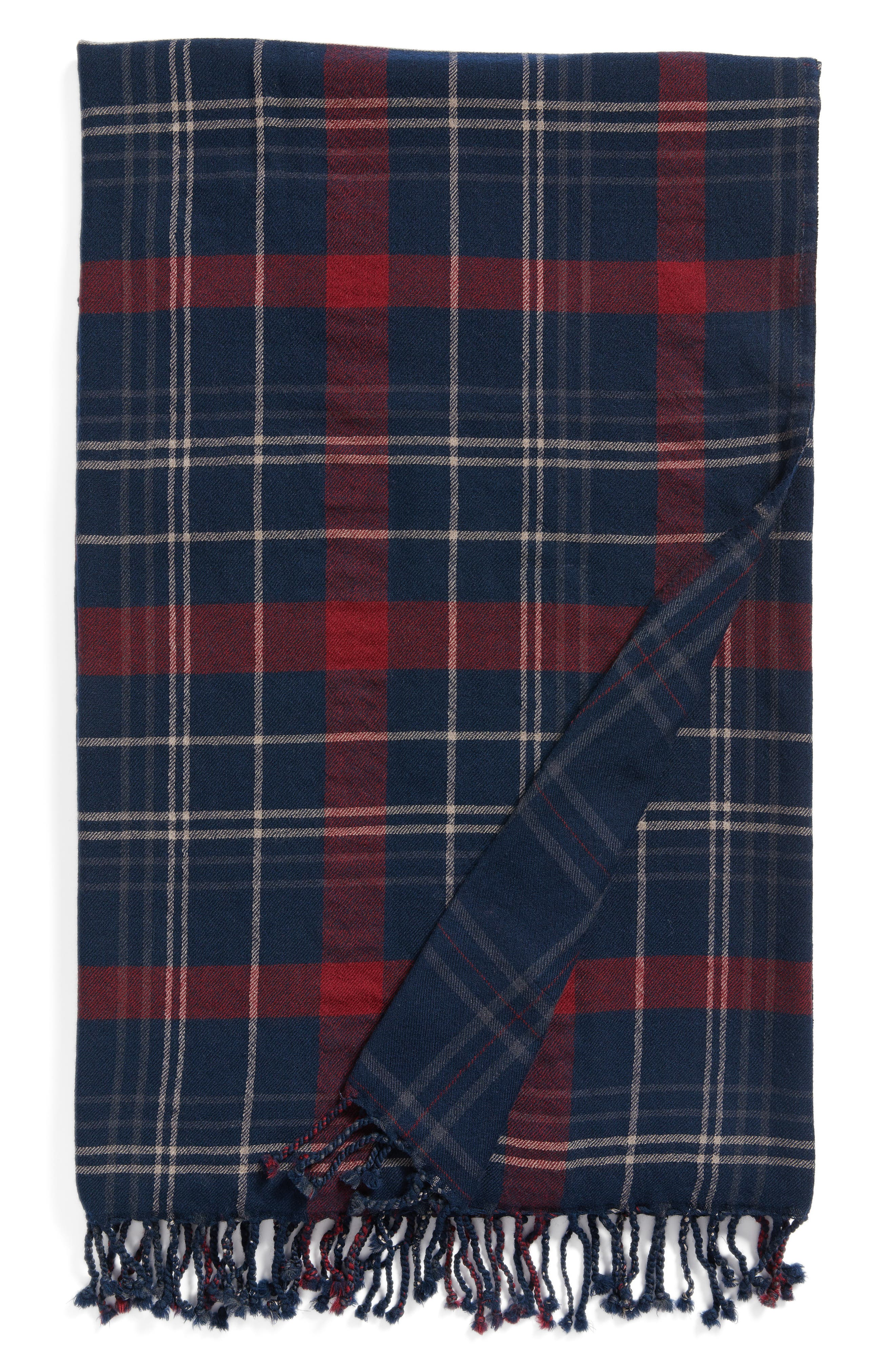 Tartan Double Face Merino Wool Throw,                             Main thumbnail 1, color,                             NAVY MAROON TARTAN