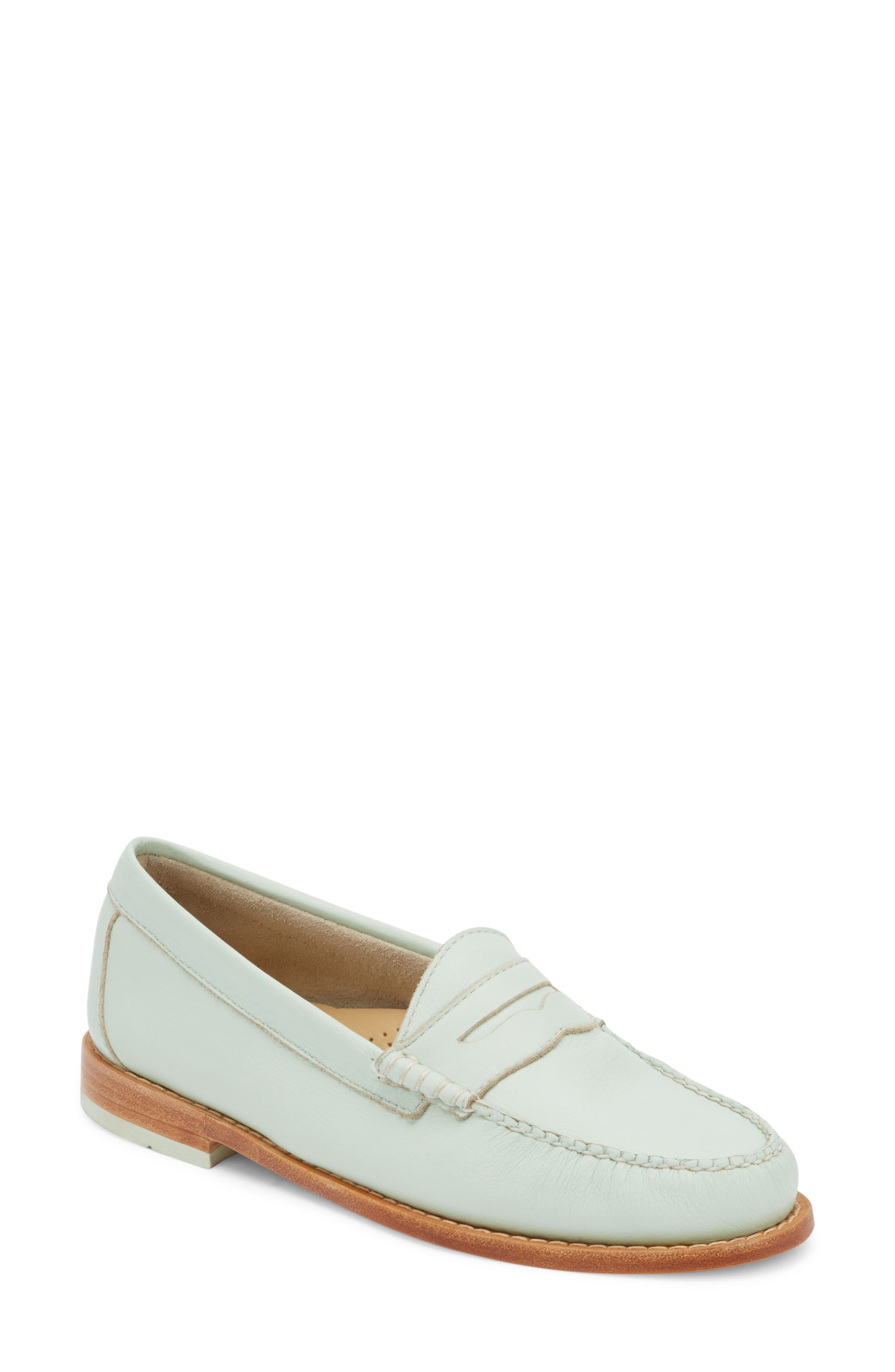 'Whitney' Loafer,                             Main thumbnail 1, color,                             MINT GREEN LEATHER