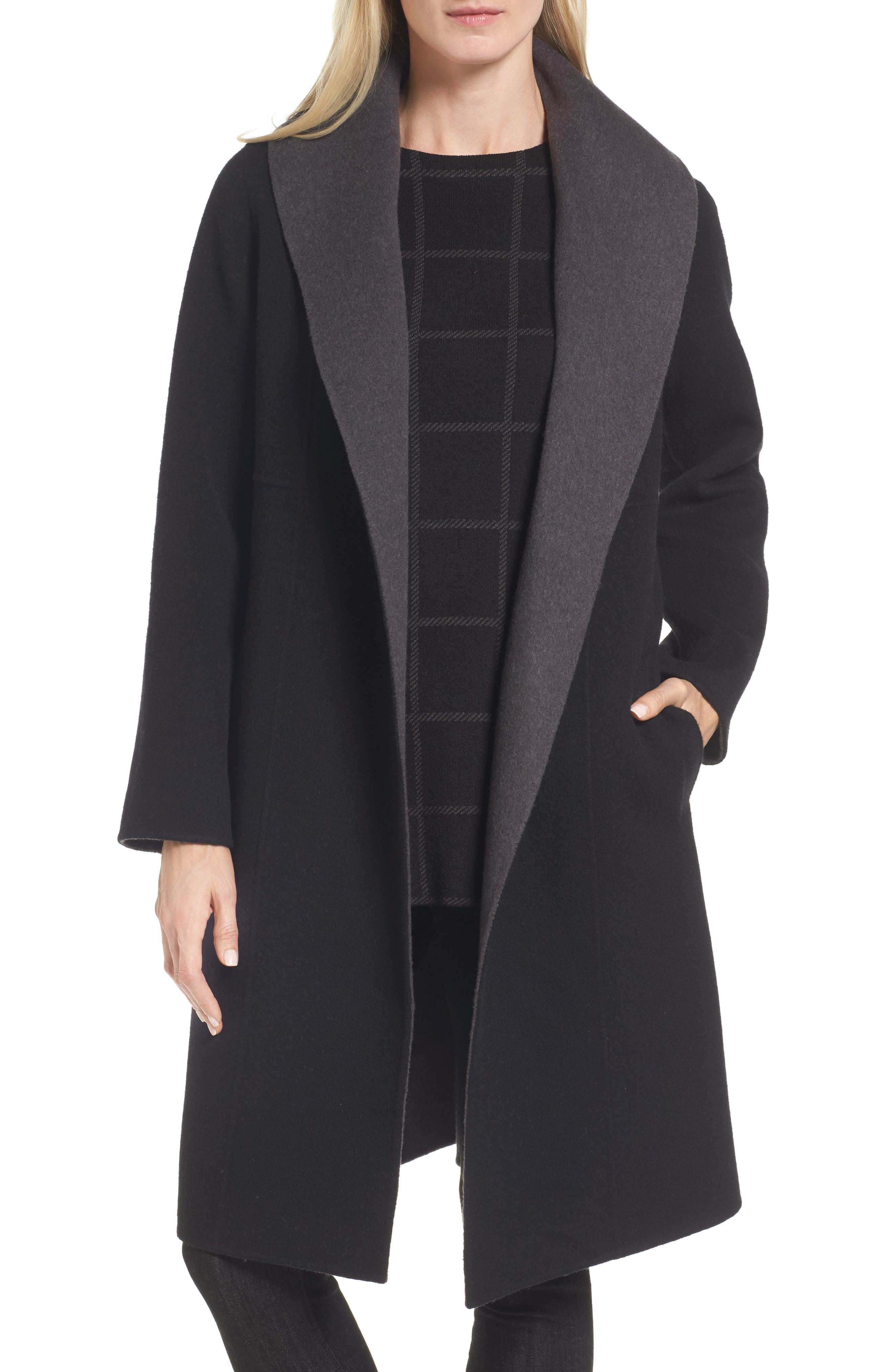 Double-Face Wool Blend Coat,                         Main,                         color, 010