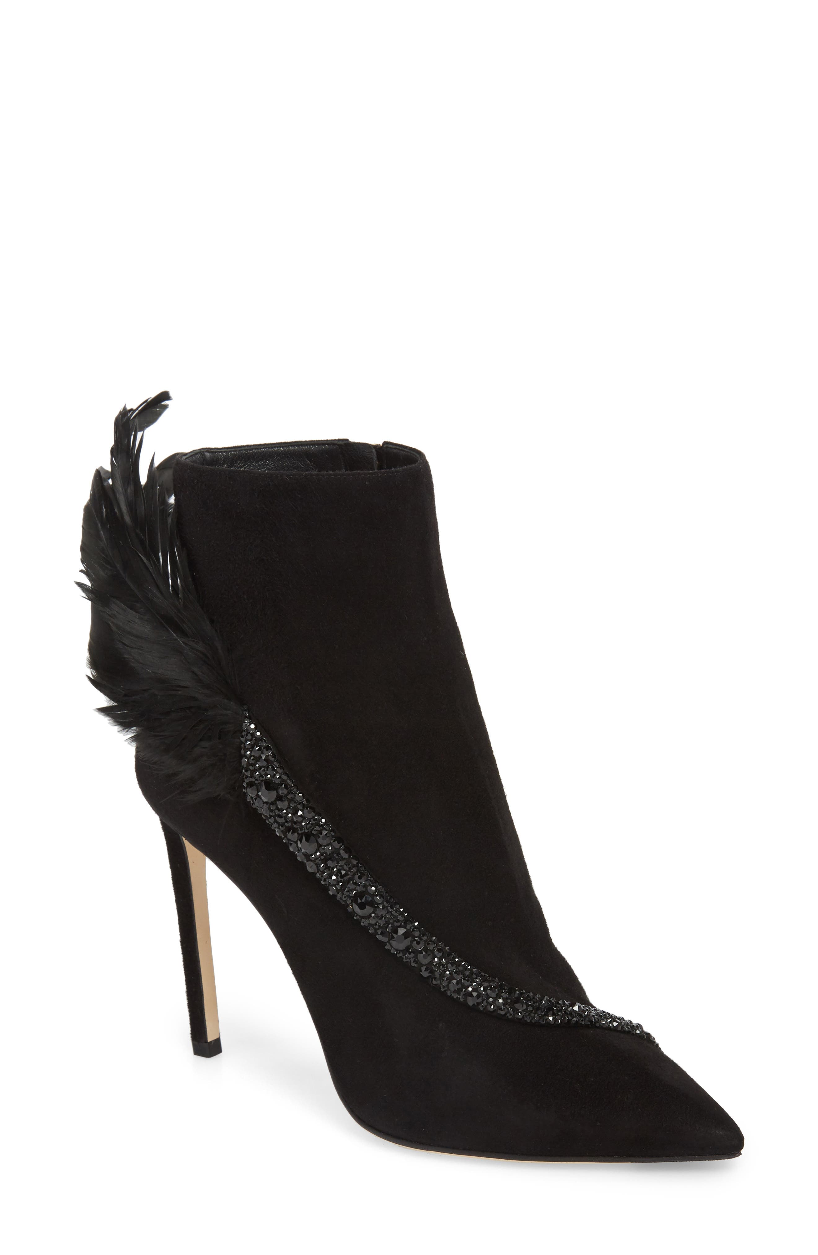 Jimmy Choo Tanya Crystal & Feather Embellished Bootie, Black