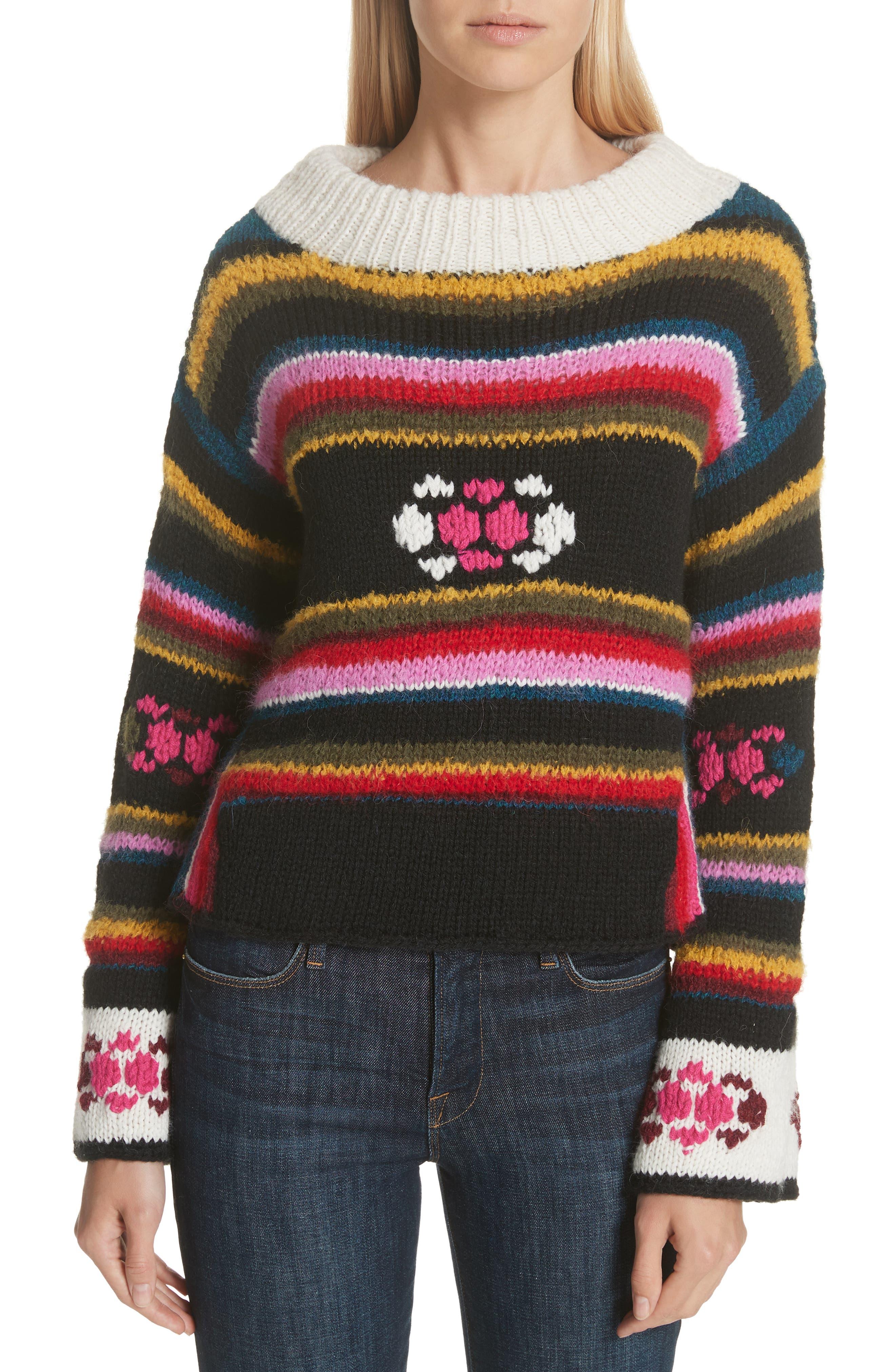 Hand Knit Stripe Alpaca Sweater,                         Main,                         color, BLACK MULTI