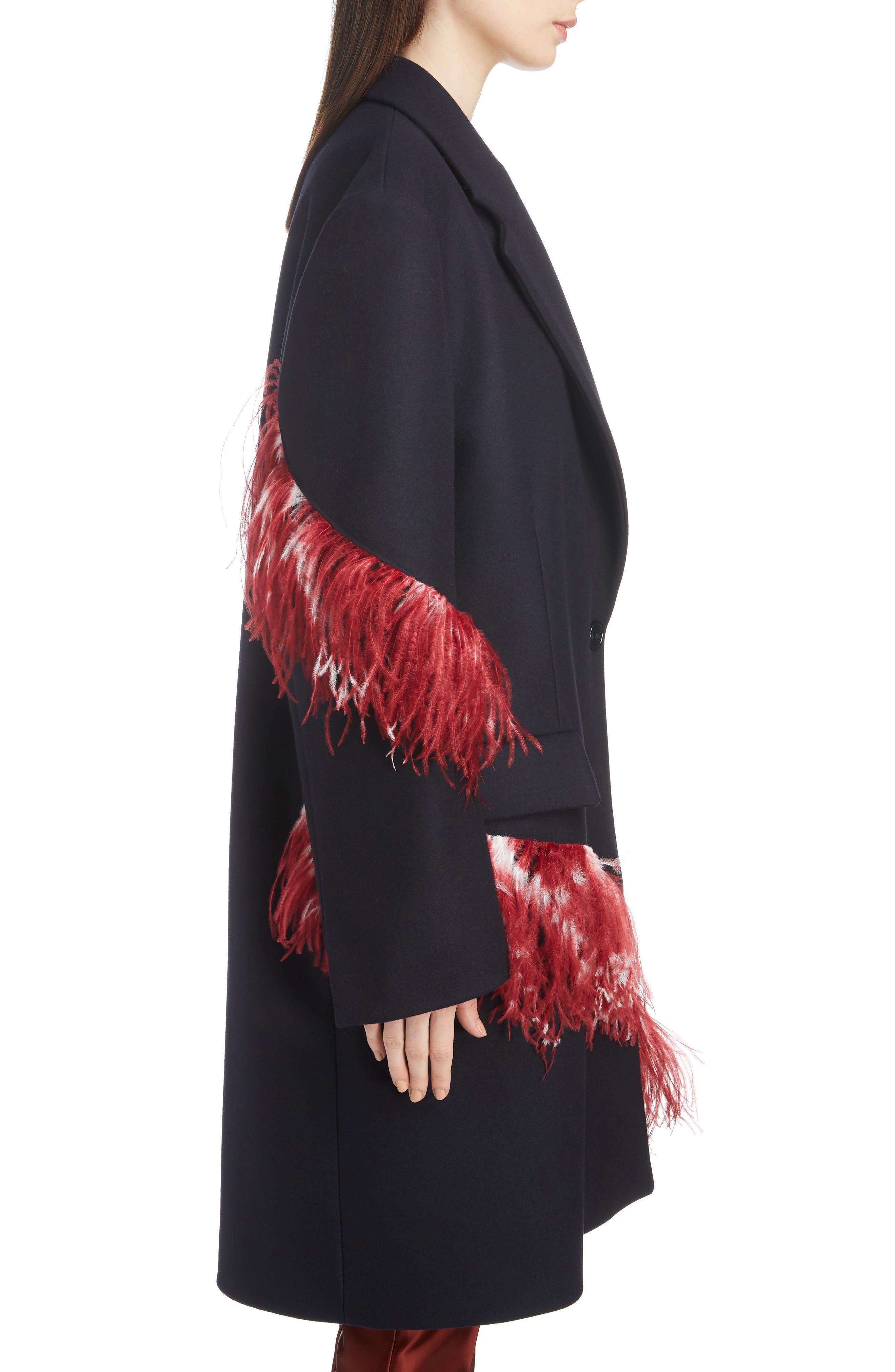 DRIES VAN NOTEN,                             Ostrich Feather Trim Wool Blend Reefer Coat,                             Alternate thumbnail 3, color,                             421