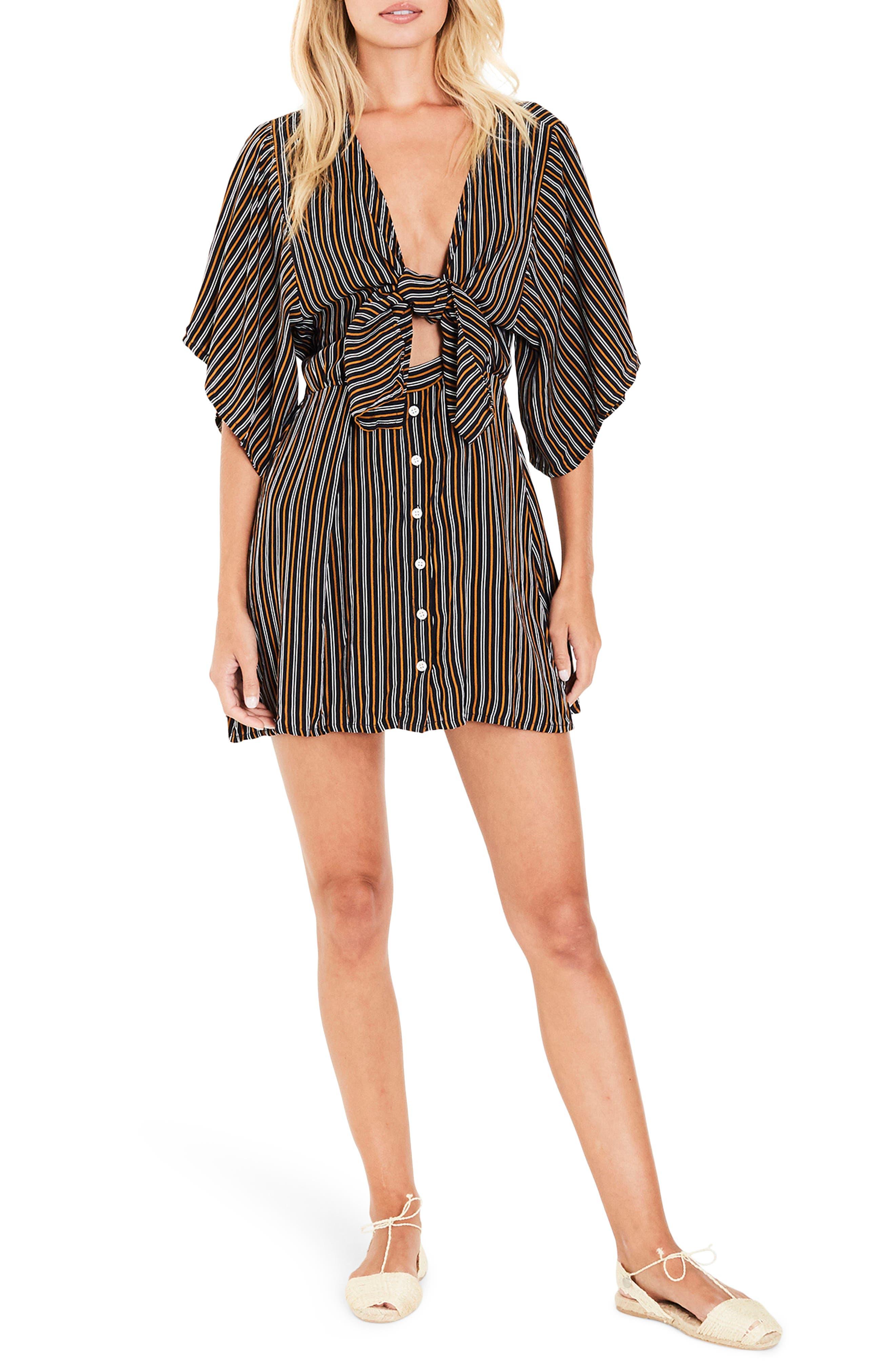 Vinci Stripe Tie Front Dress,                             Main thumbnail 1, color,                             200